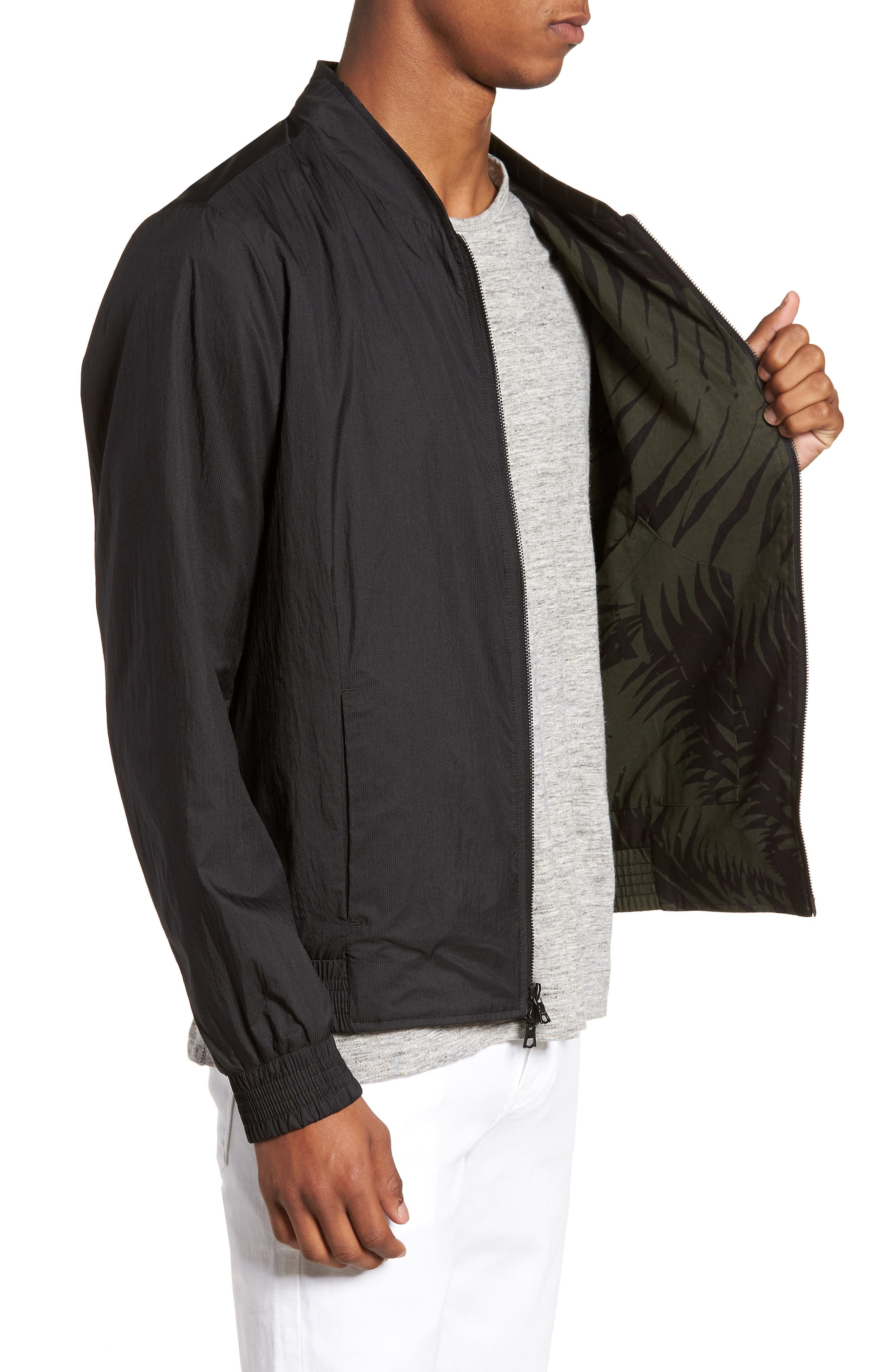 Reversible Bomber Jacket,                             Alternate thumbnail 4, color,                             Black/ Jungle Green