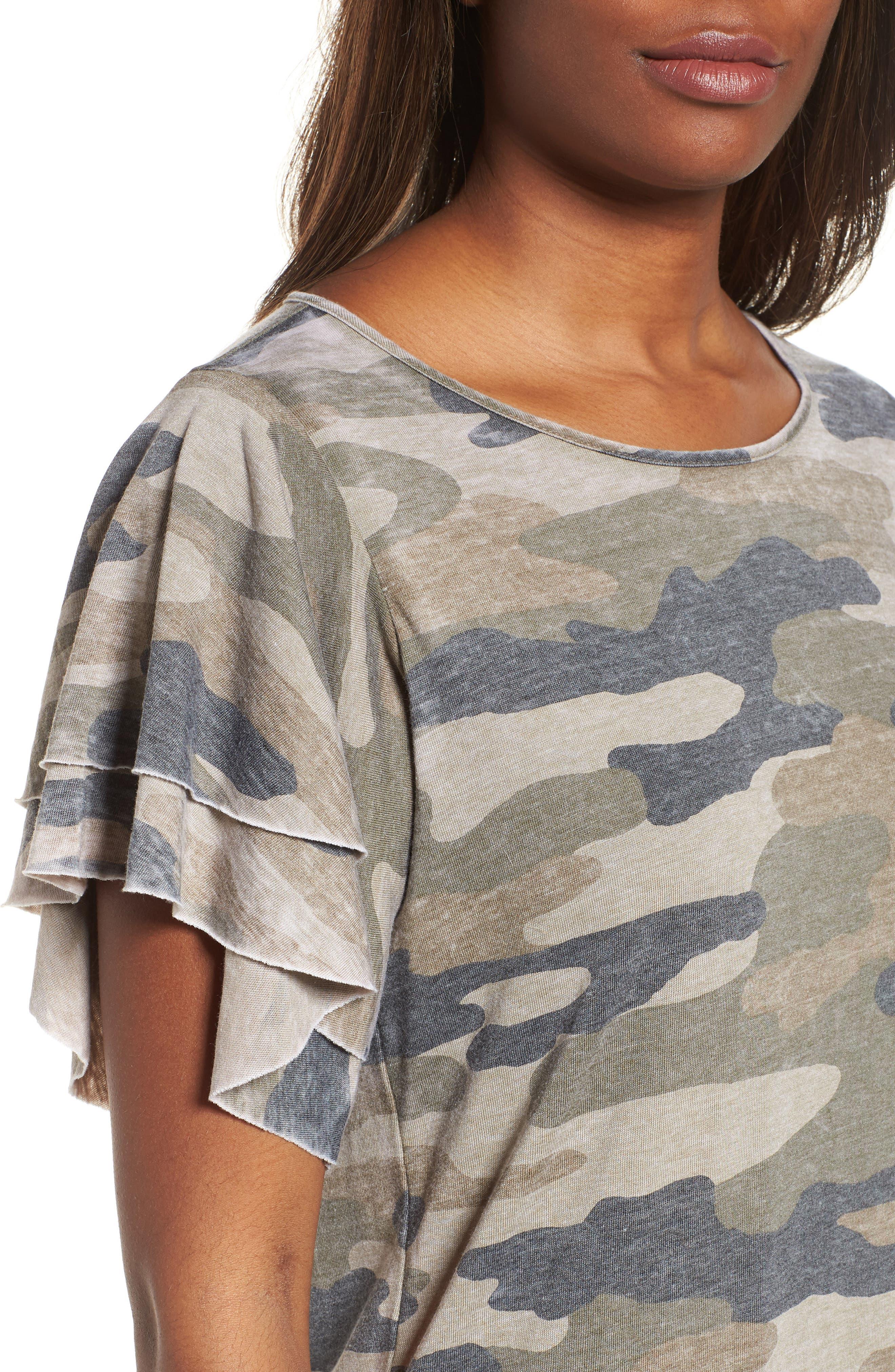 Camo Print Dress,                             Alternate thumbnail 4, color,                             Multi