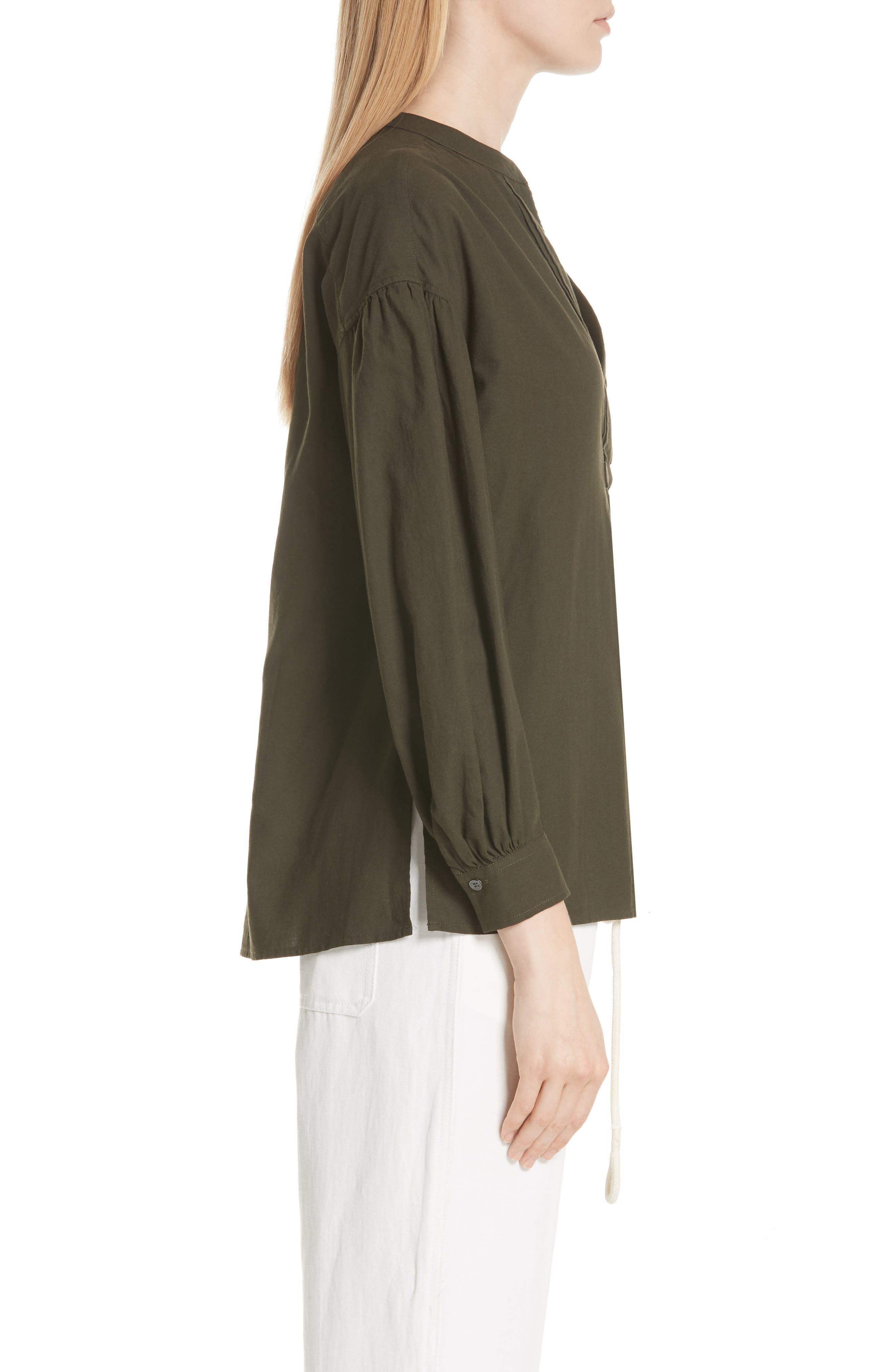 Shirred Cotton Blouse,                             Alternate thumbnail 3, color,                             Pinon Green