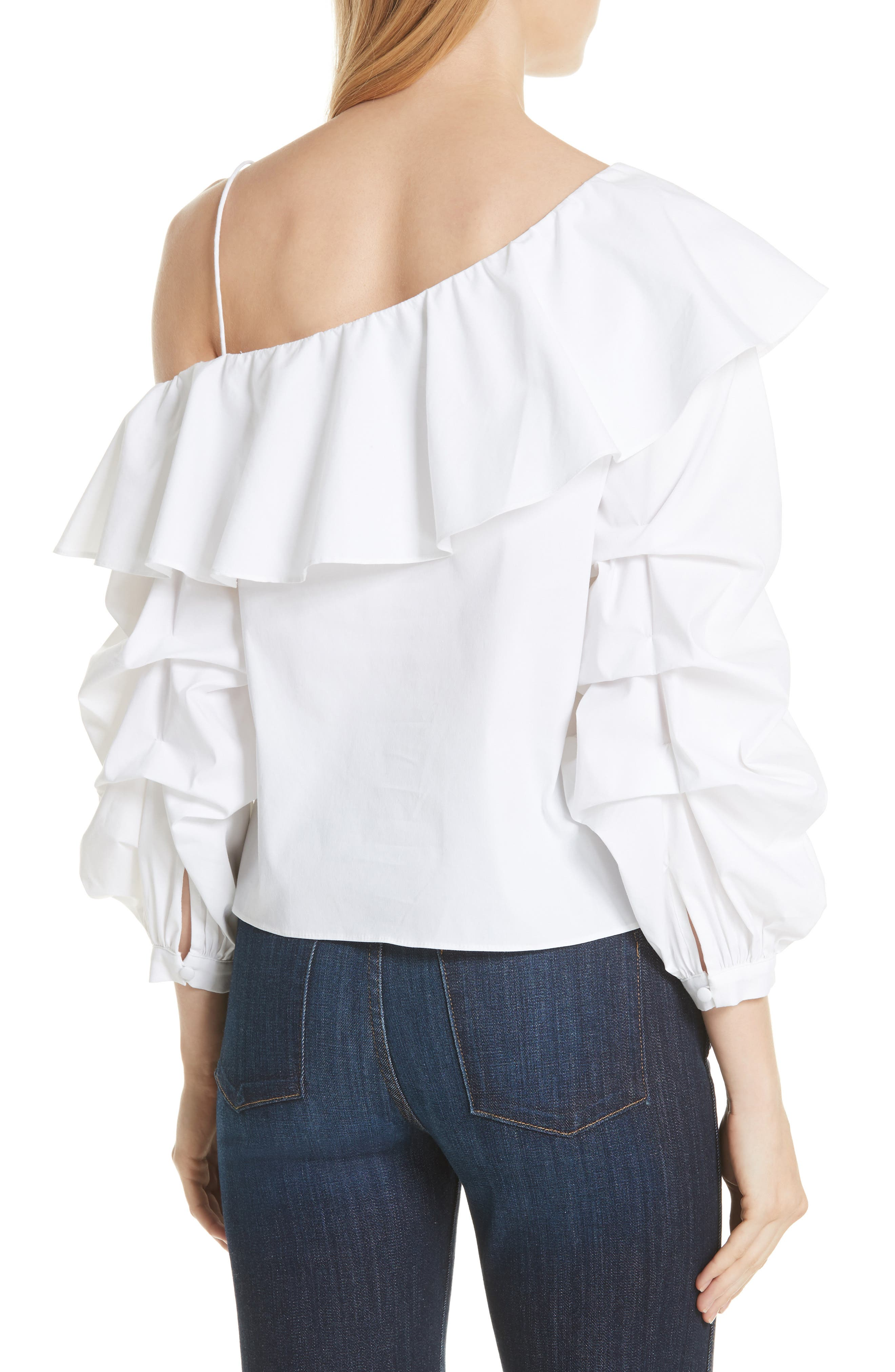 Irvine Ruffle One-Shoulder Blouse,                             Alternate thumbnail 2, color,                             White
