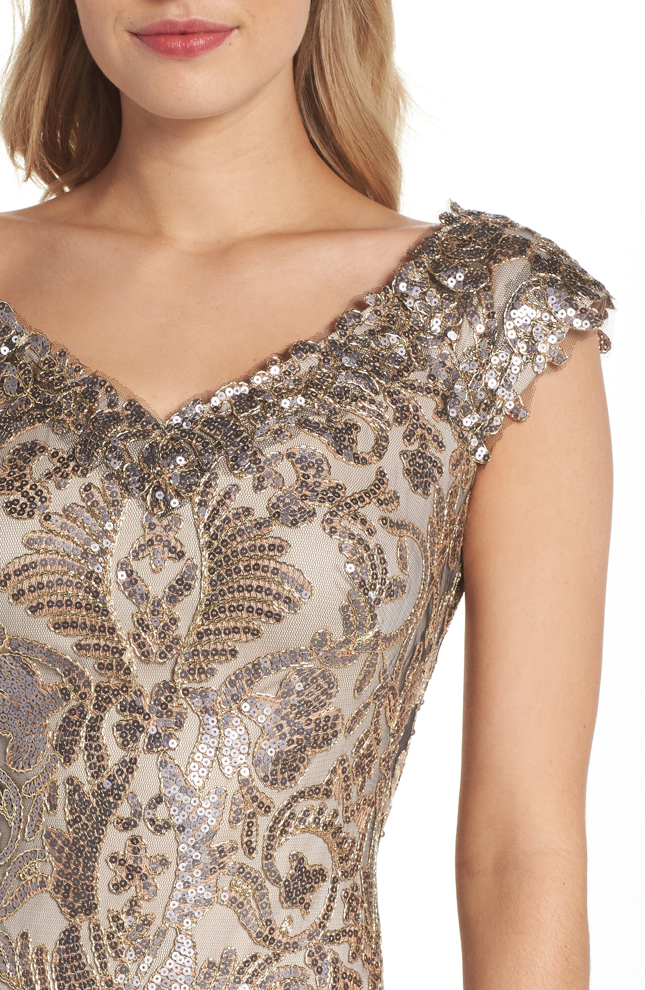 Embroidered Sequin A-Line Gown,                             Alternate thumbnail 4, color,                             Copper Shadow