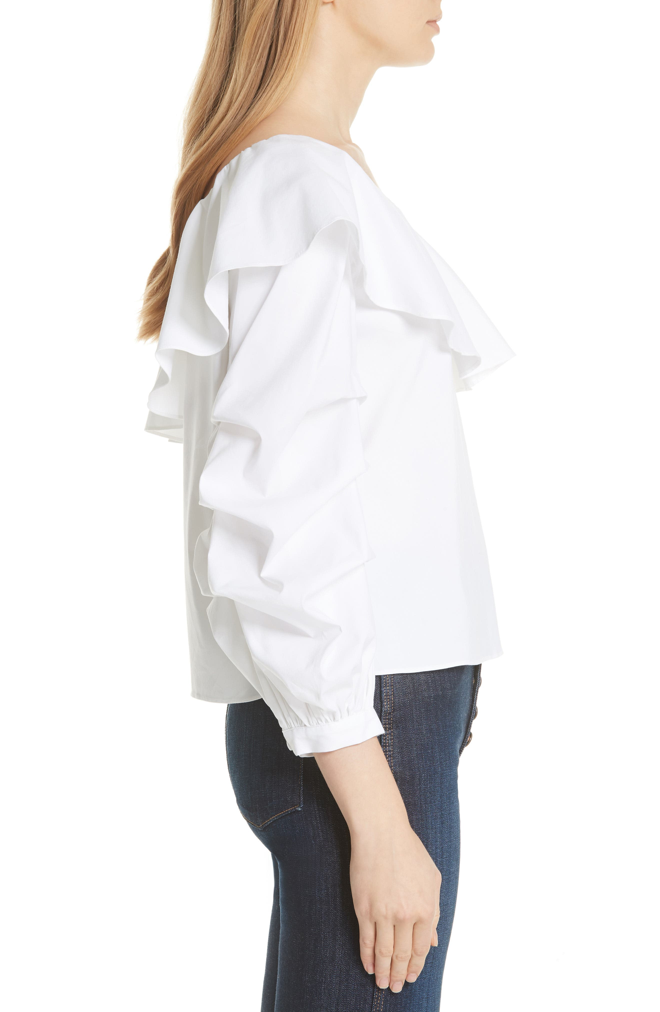 Irvine Ruffle One-Shoulder Blouse,                             Alternate thumbnail 3, color,                             White