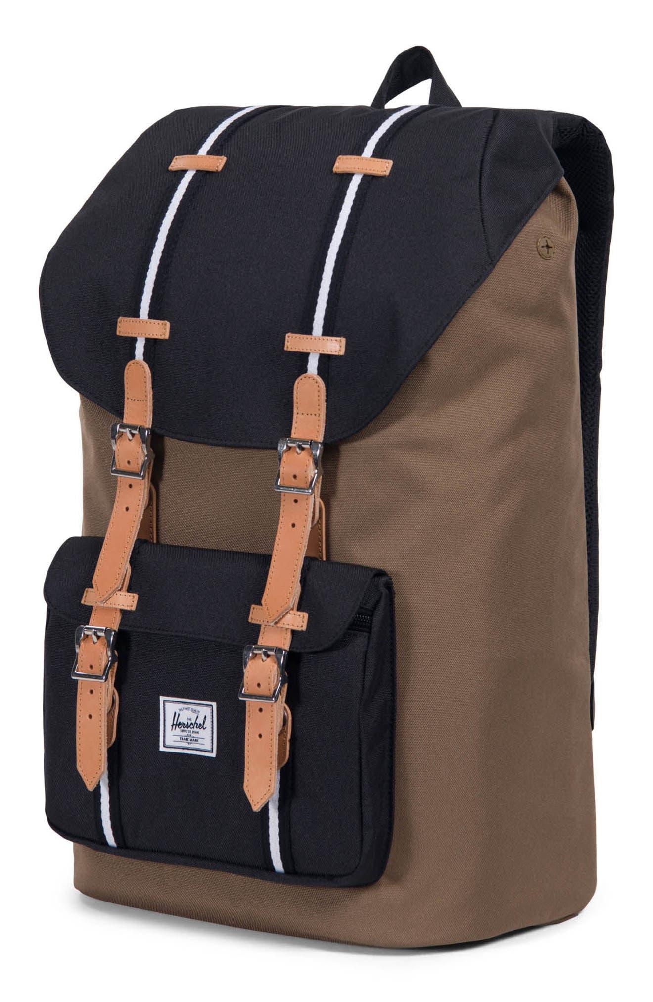 Little America Offset Stripe Backpack,                             Alternate thumbnail 4, color,                             Cub/ Black/ White