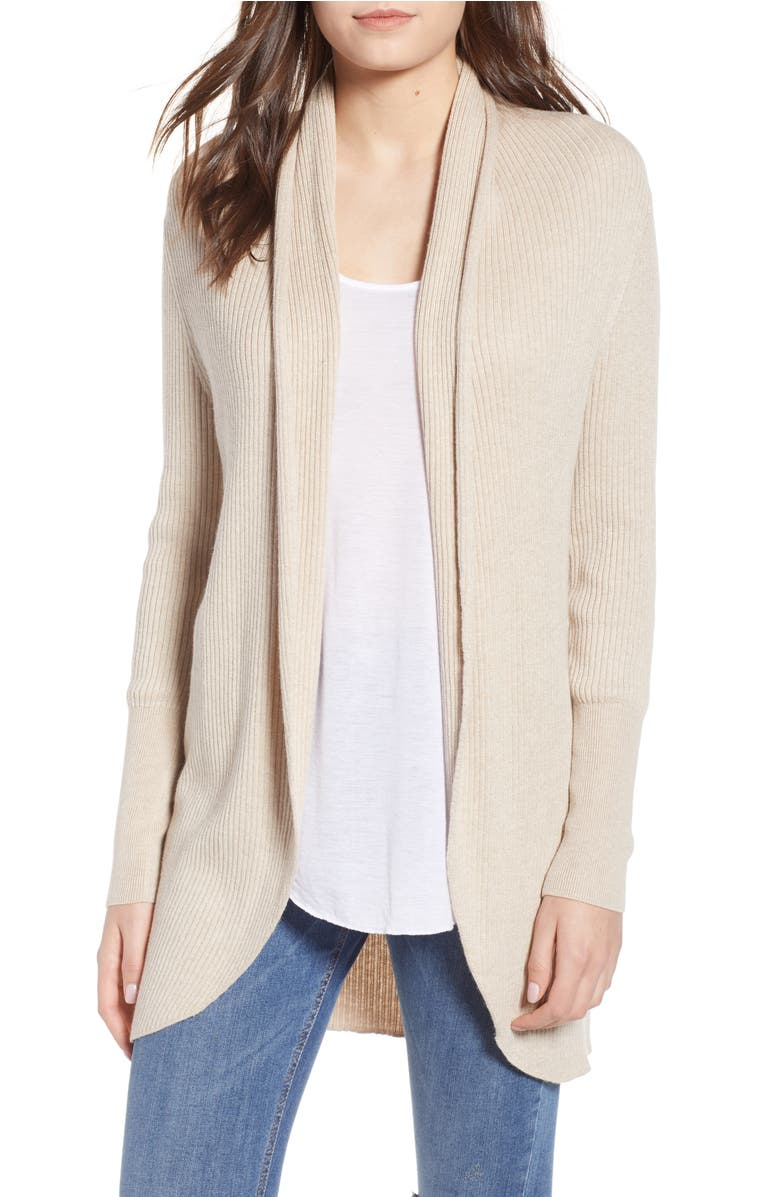 Leith Ribbed Shawl Cocoon Sweater | Nordstrom