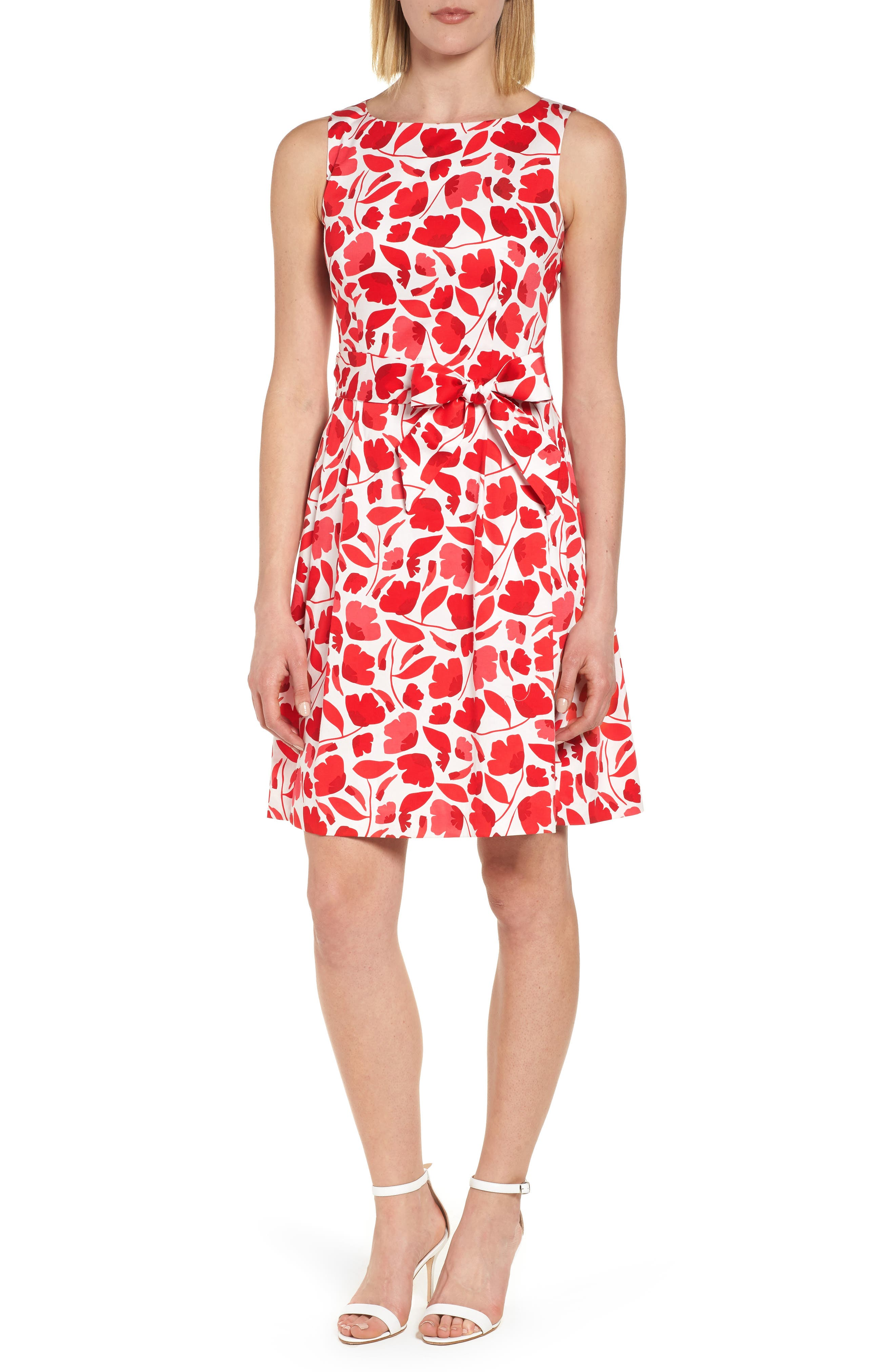 Floral Fit & Flare Dress,                             Main thumbnail 1, color,                             Tomato Combo