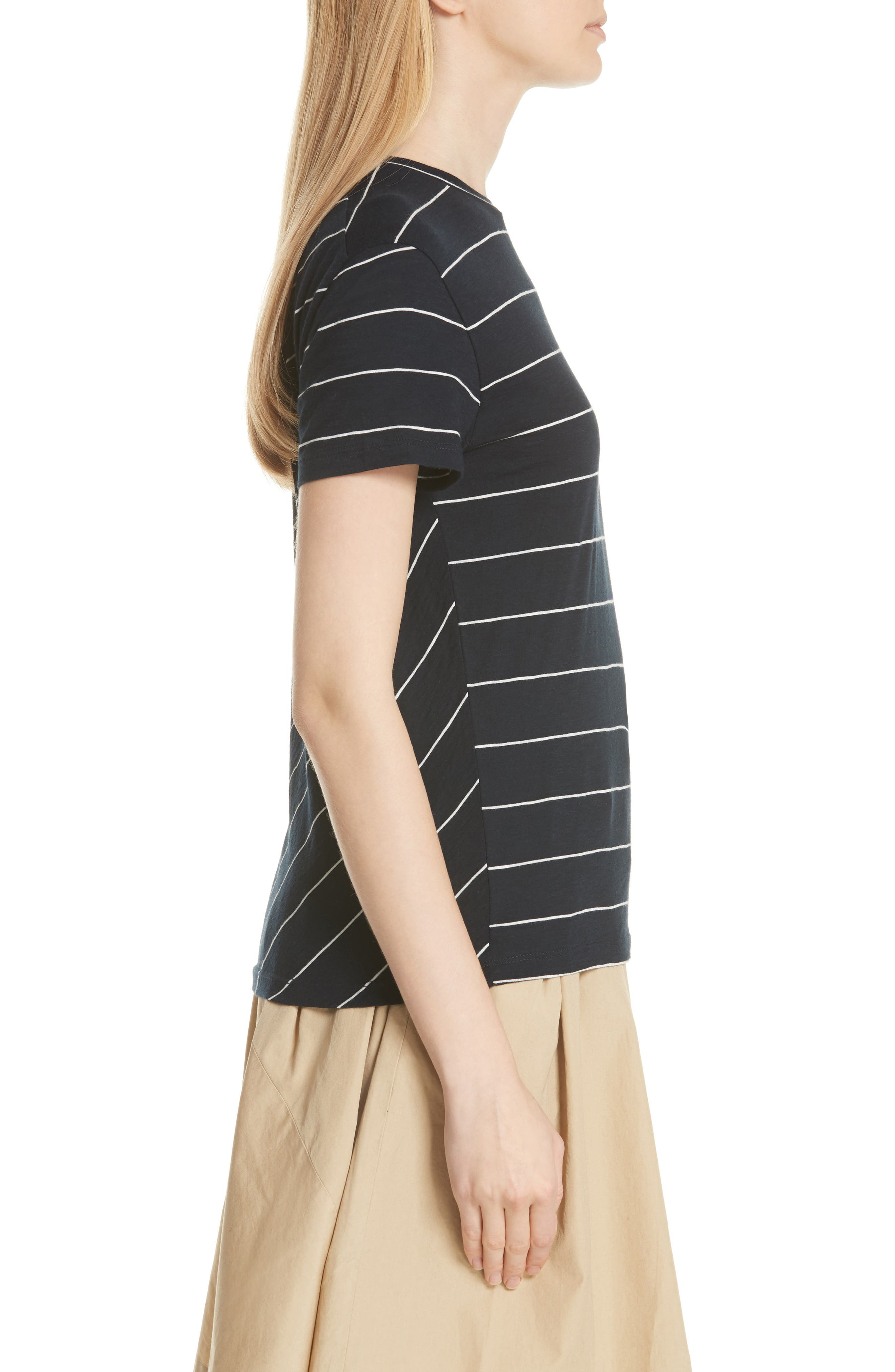 Skinny Stripe Pima Cotton Top,                             Alternate thumbnail 3, color,                             Coastal/ Vanilla