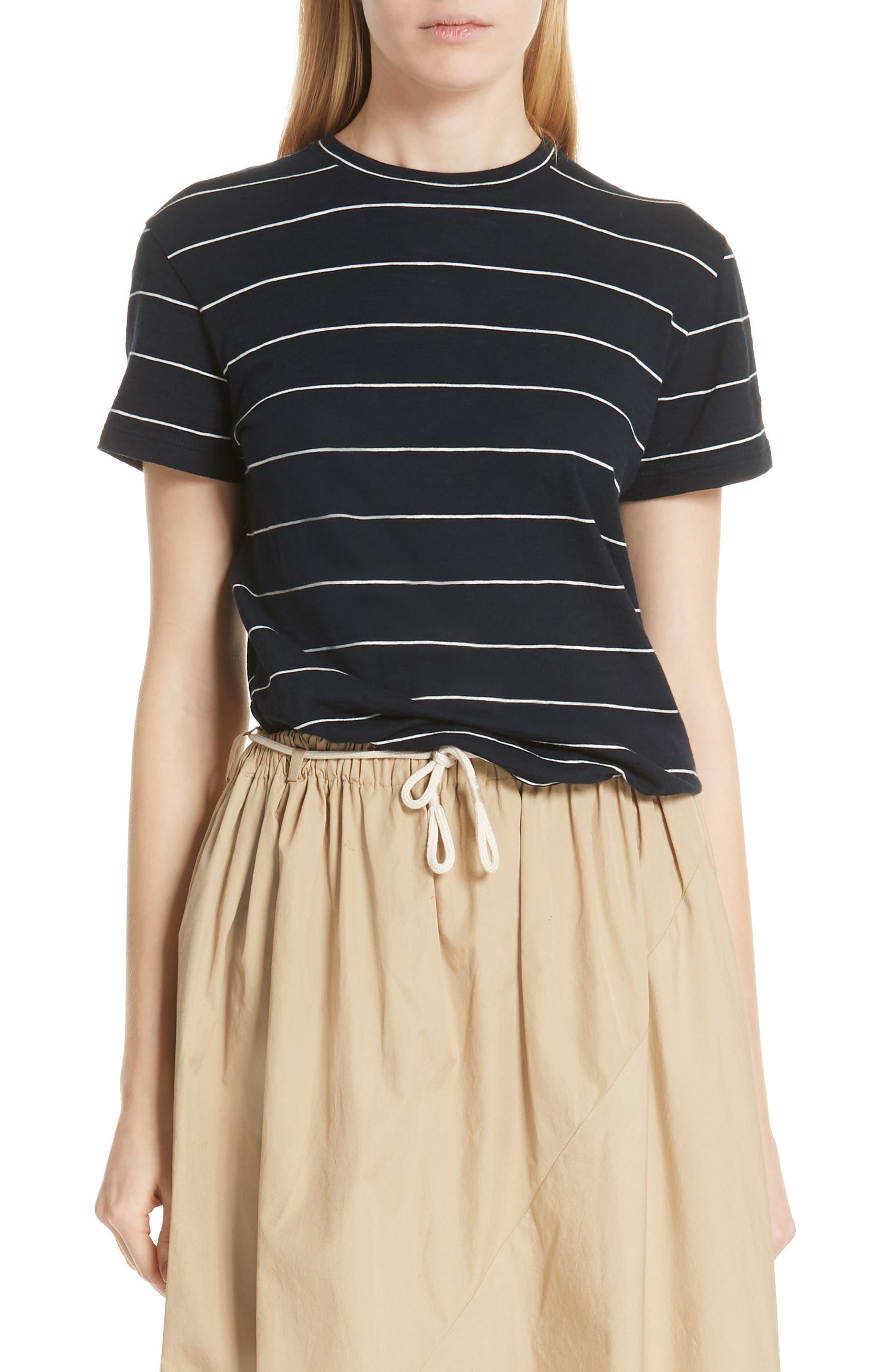 Skinny Stripe Pima Cotton Top,                             Main thumbnail 1, color,                             Coastal/ Vanilla