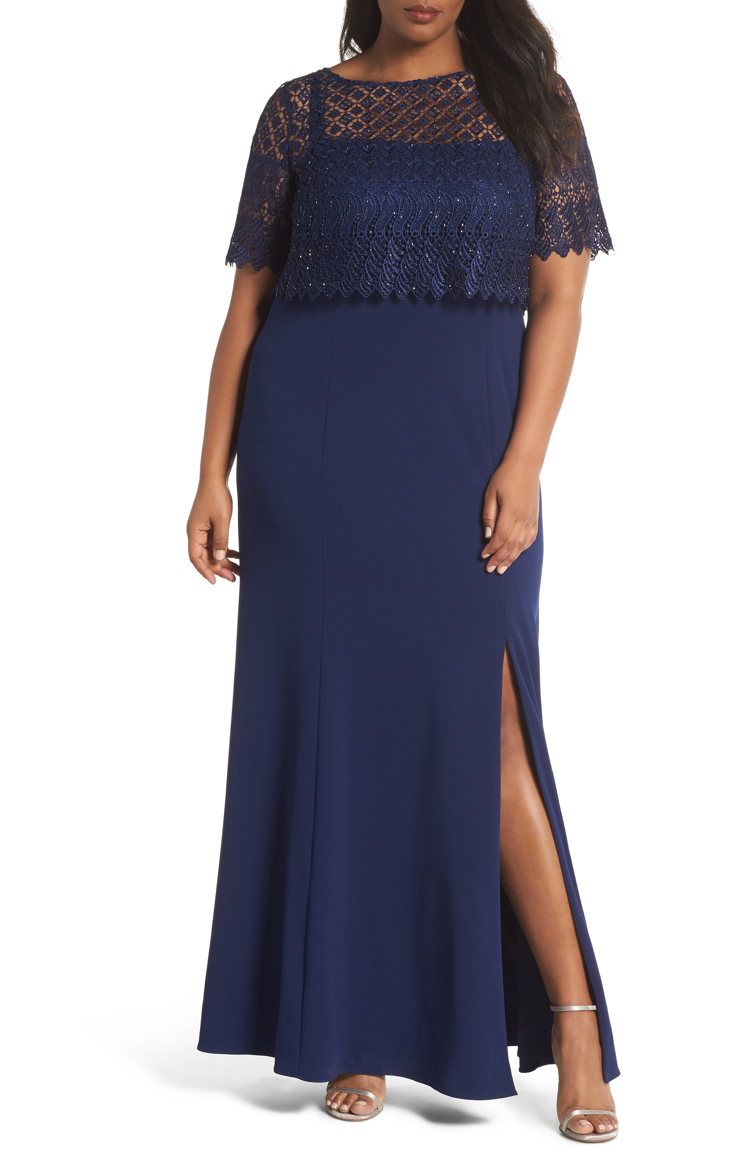 Guipure Popover Crepe Gown,                             Main thumbnail 1, color,                             Light Navy