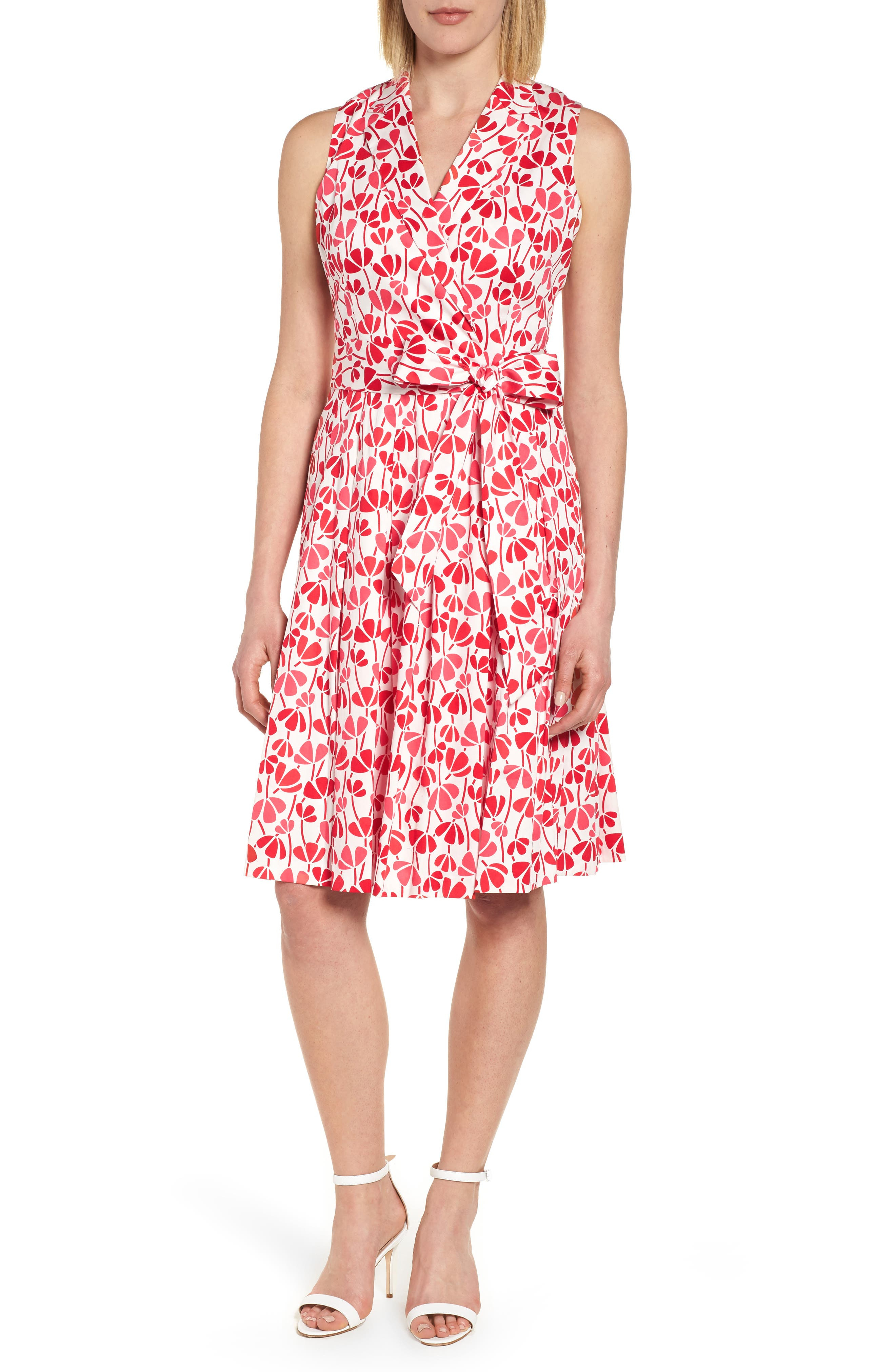 Anne Klein New York Flowerfall Stretch Cotton Wrap Dress