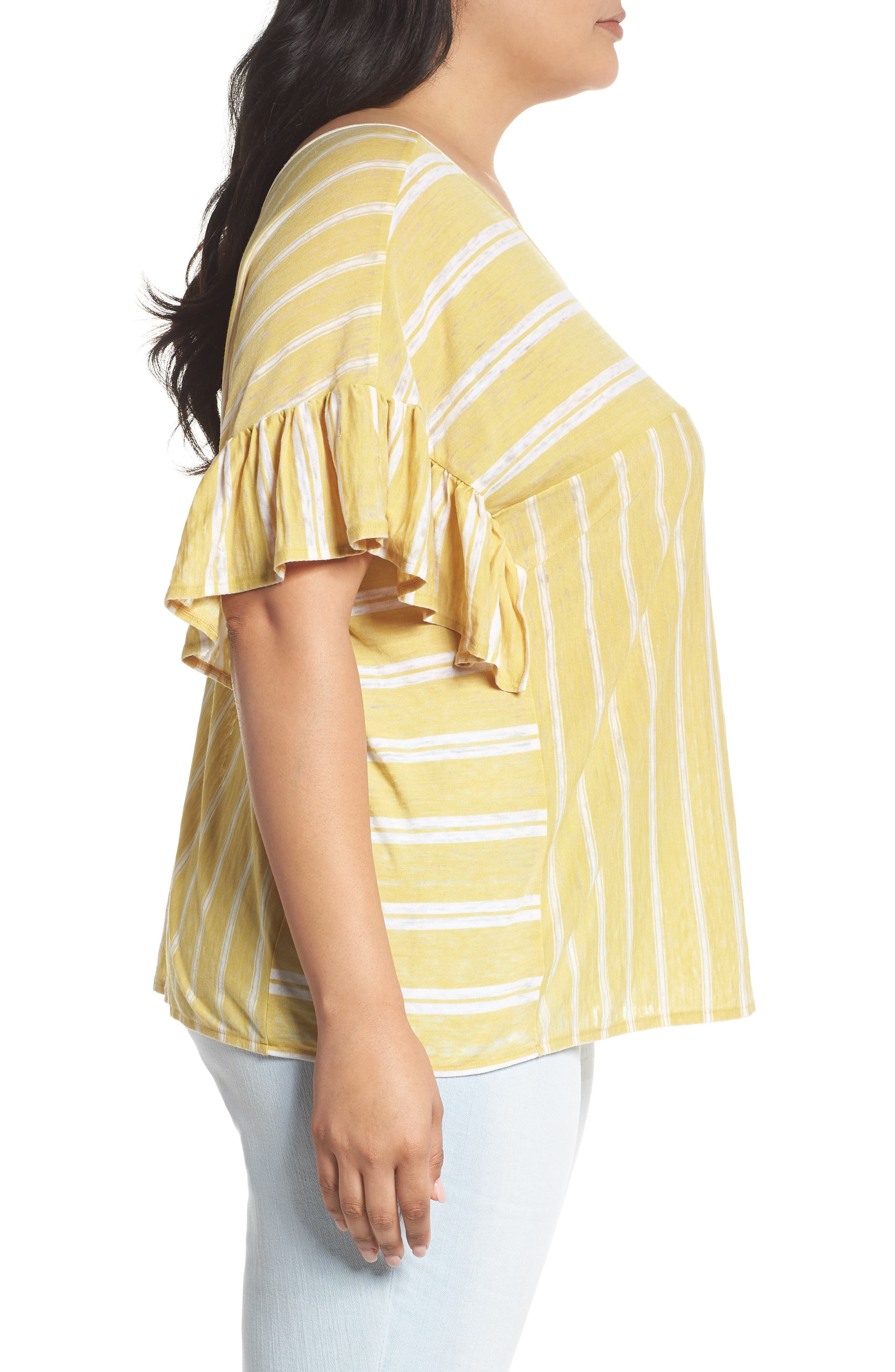 Ruffle Sleeve Mix Stripe Ruffle Tee,                             Alternate thumbnail 4, color,                             Yellow