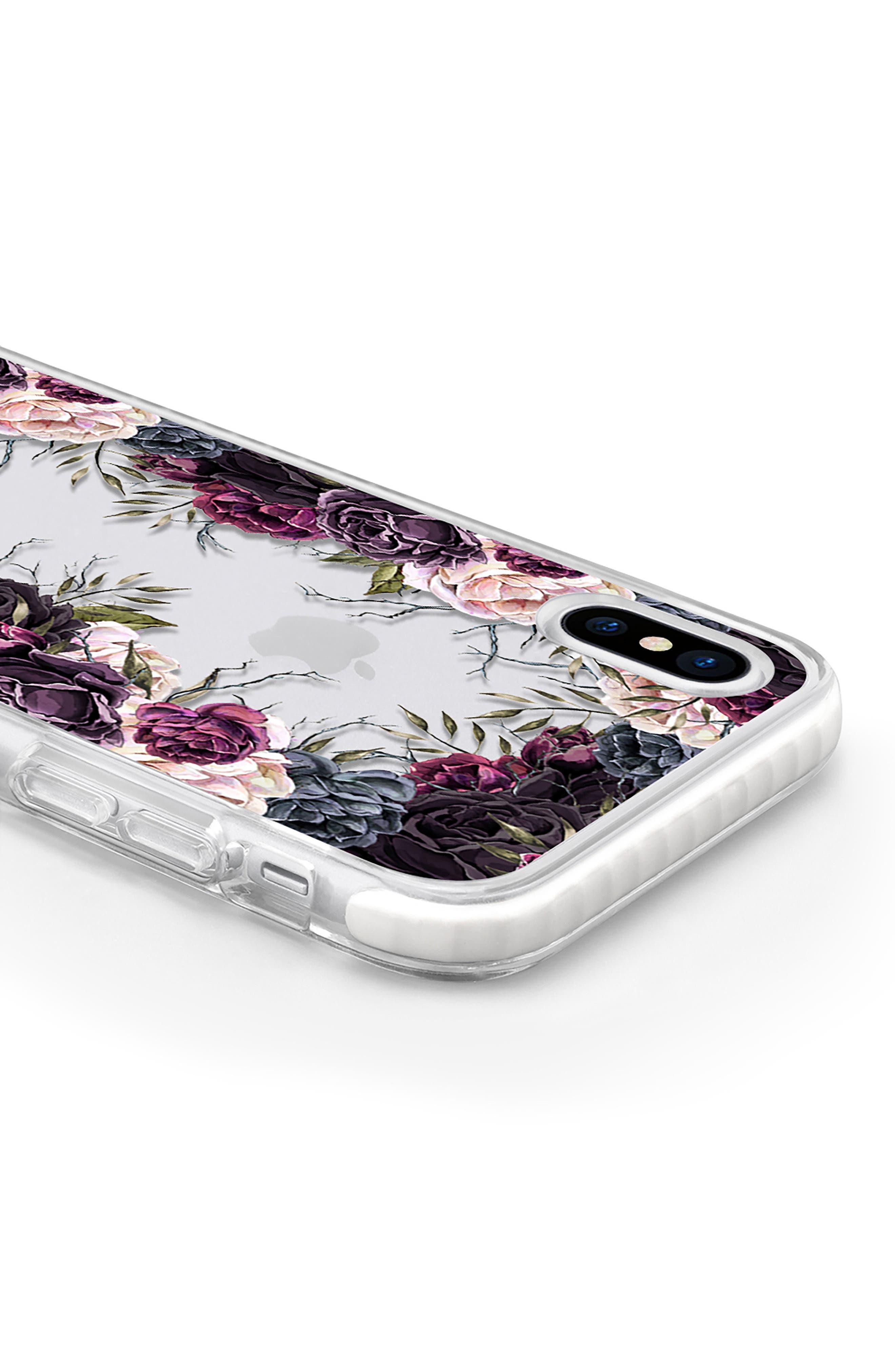 My Secret Garden Transparent iPhone X Case,                             Alternate thumbnail 4, color,                             Purple