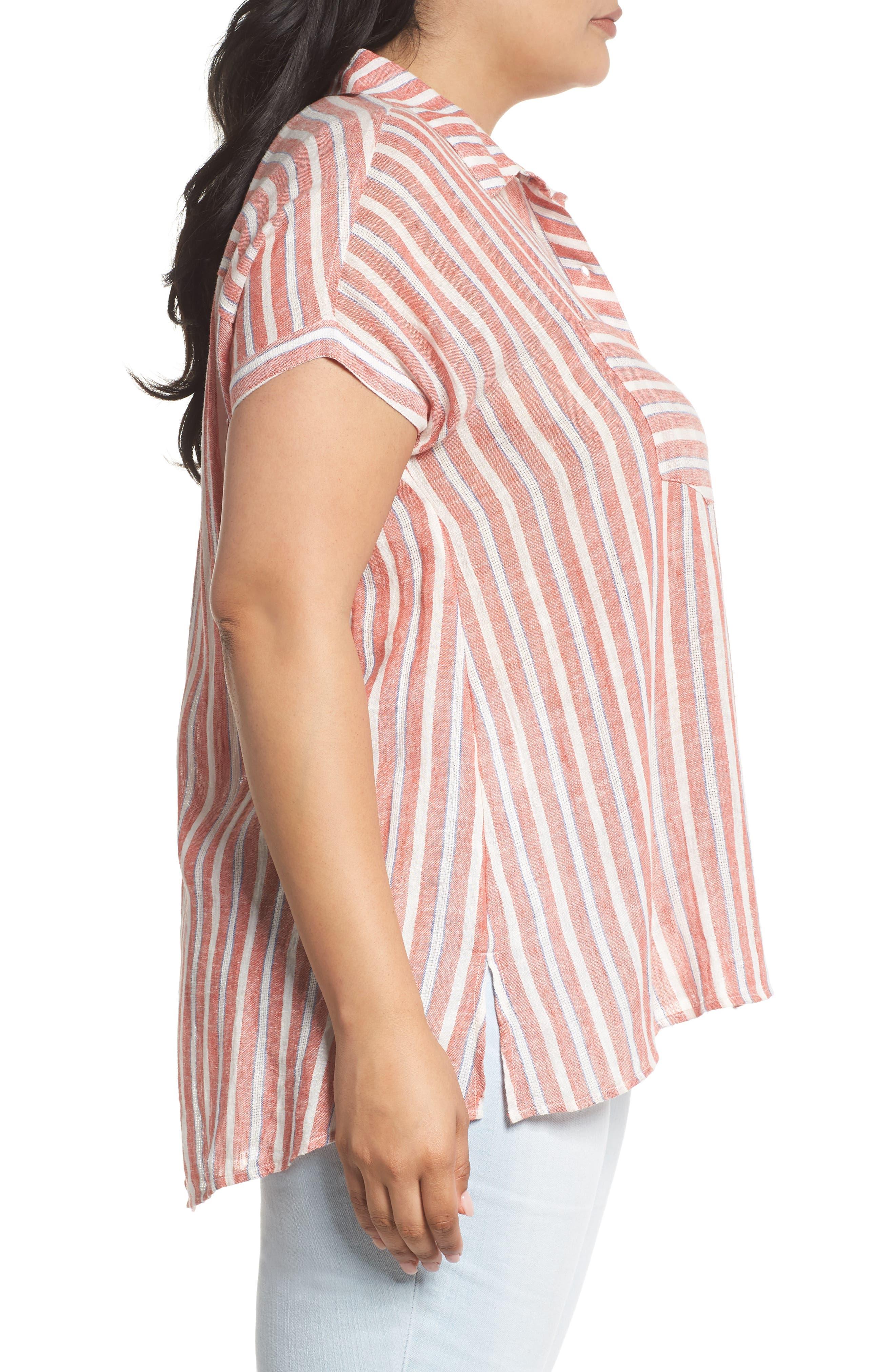 Tie Back Stripe Shirt,                             Alternate thumbnail 3, color,                             Red Multi