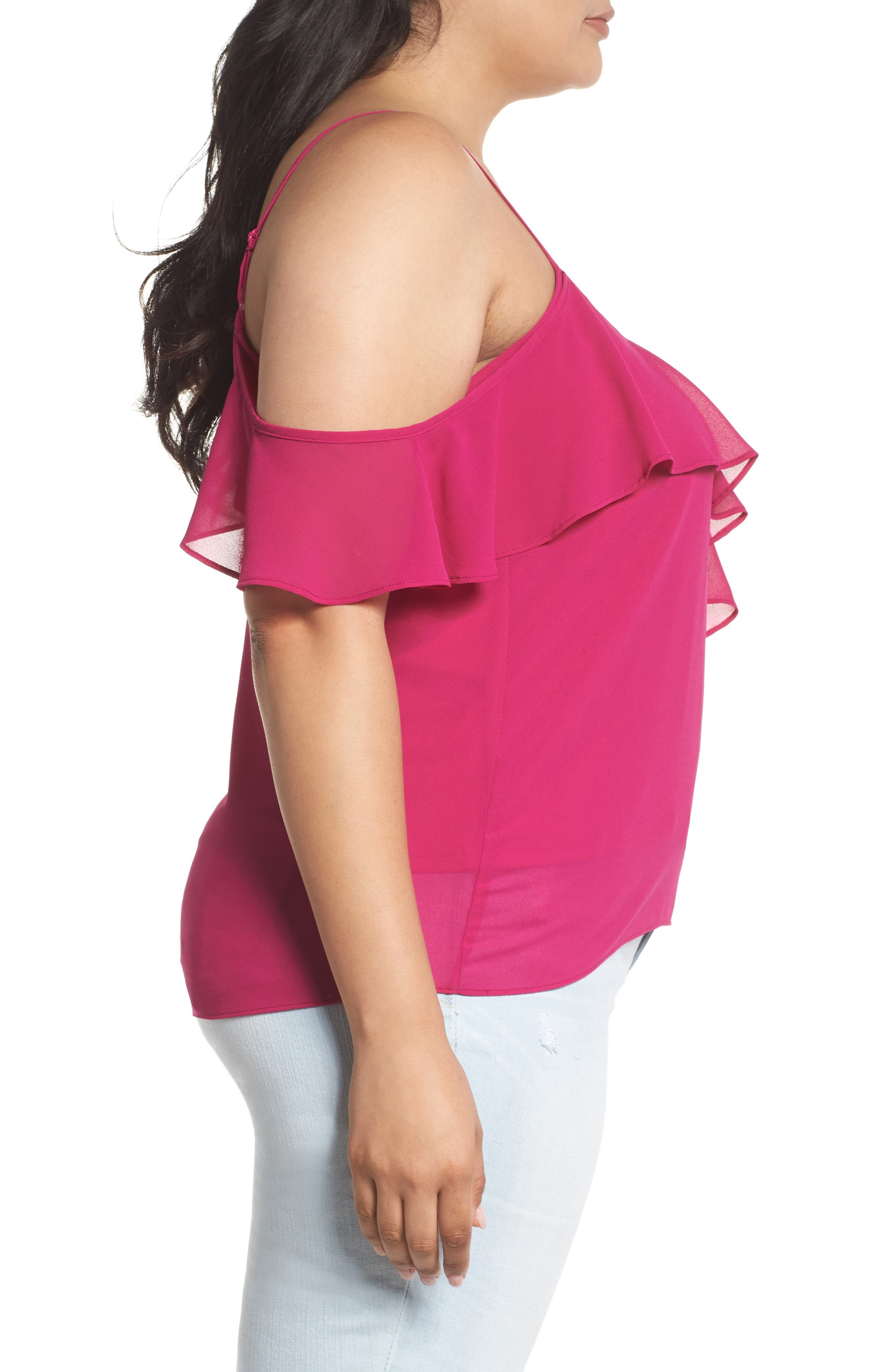 One Ruffle Camisole,                             Alternate thumbnail 3, color,                             Pink