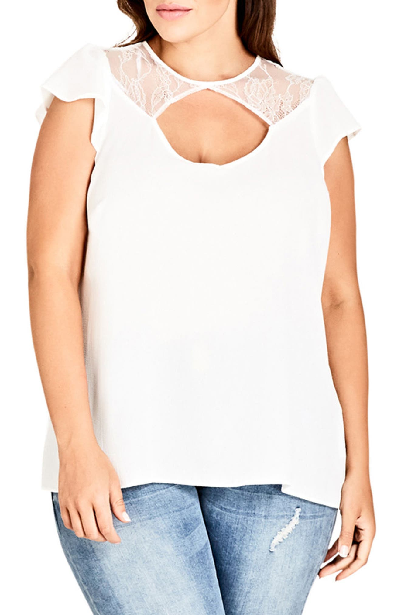 Lace Peek Top,                         Main,                         color, Ivory