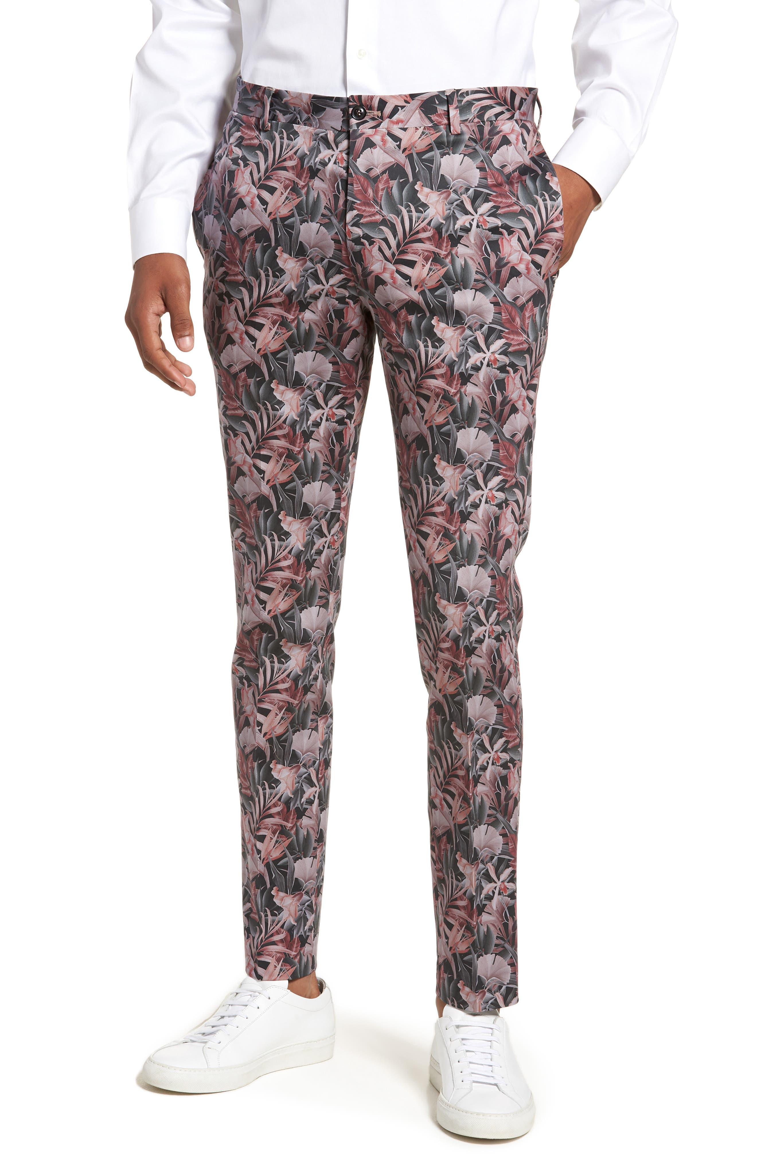 Ultra Skinny Fit Hibiscus Print Suit Trousers,                             Main thumbnail 1, color,                             Pink Multi
