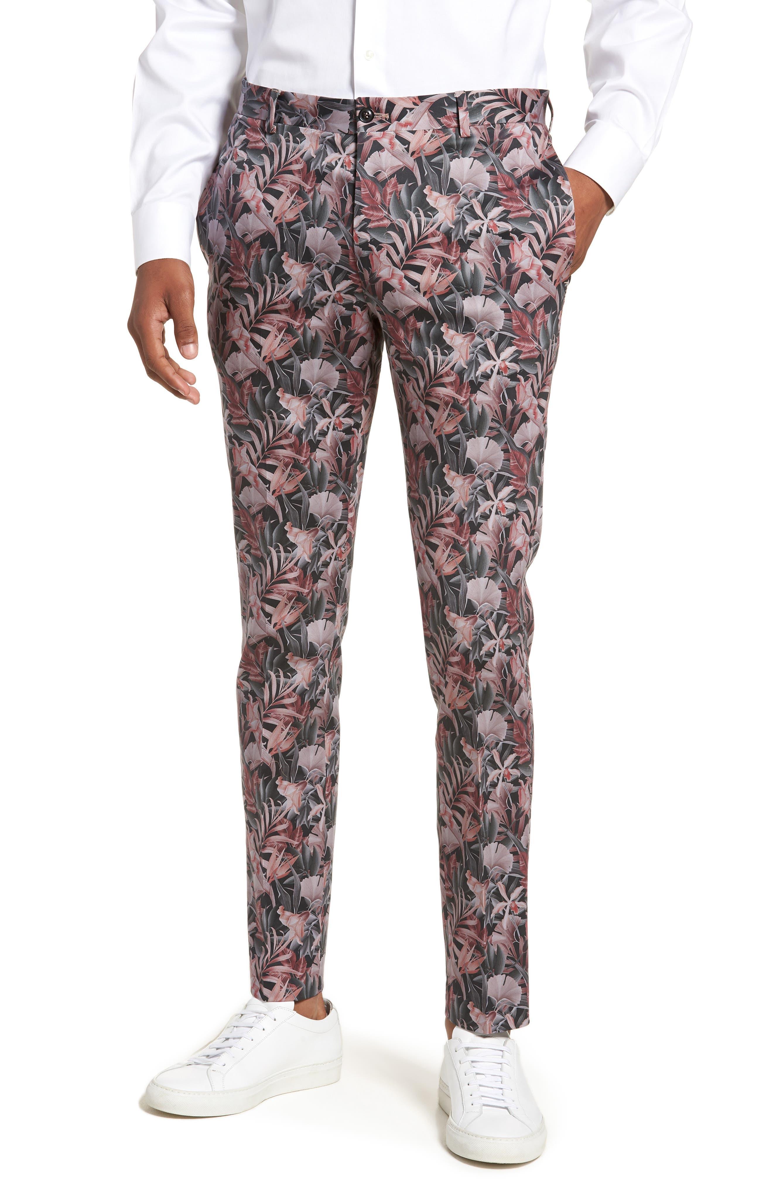 Topman Ultra Skinny Fit Hibiscus Print Suit Trousers