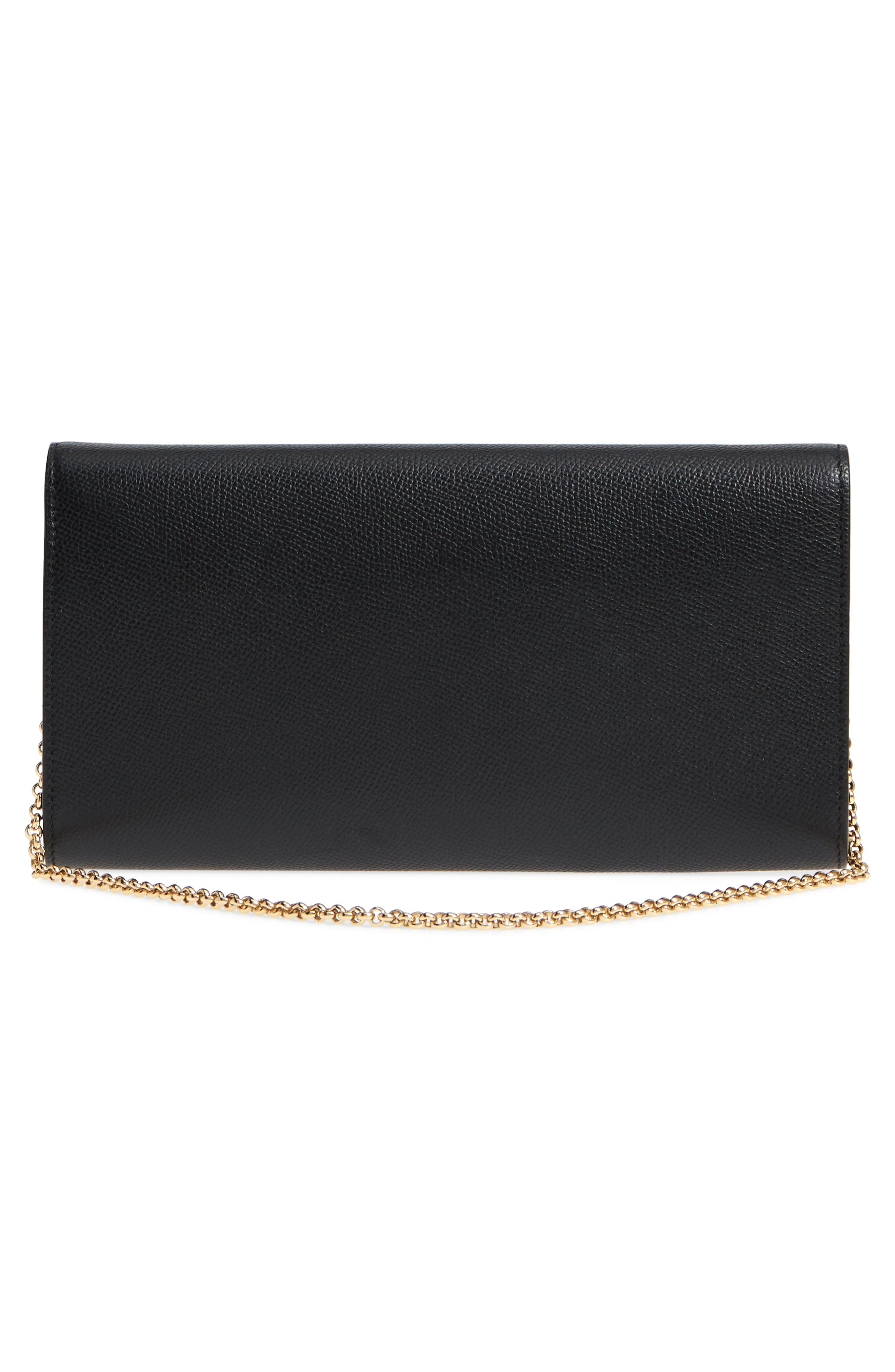 Gancio Calfskin Leather Wallet on a Chain,                             Alternate thumbnail 3, color,                             Nero