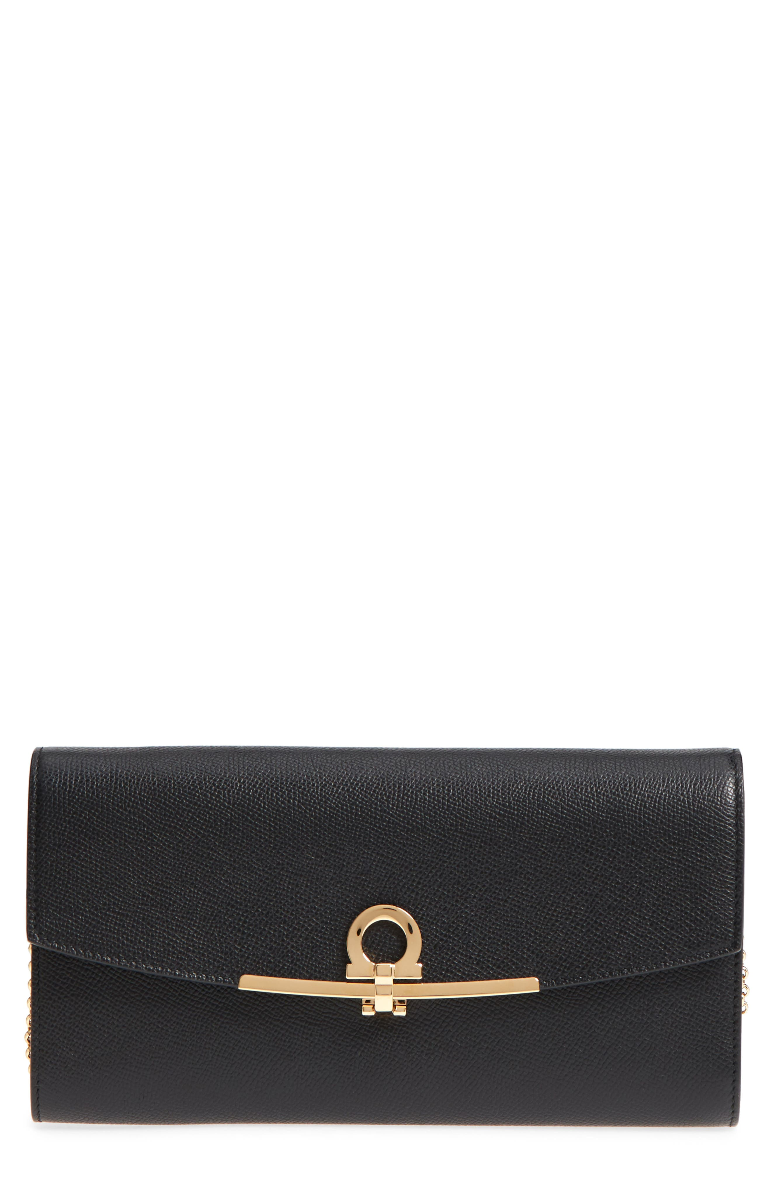 Gancio Calfskin Leather Wallet on a Chain,                         Main,                         color, Nero