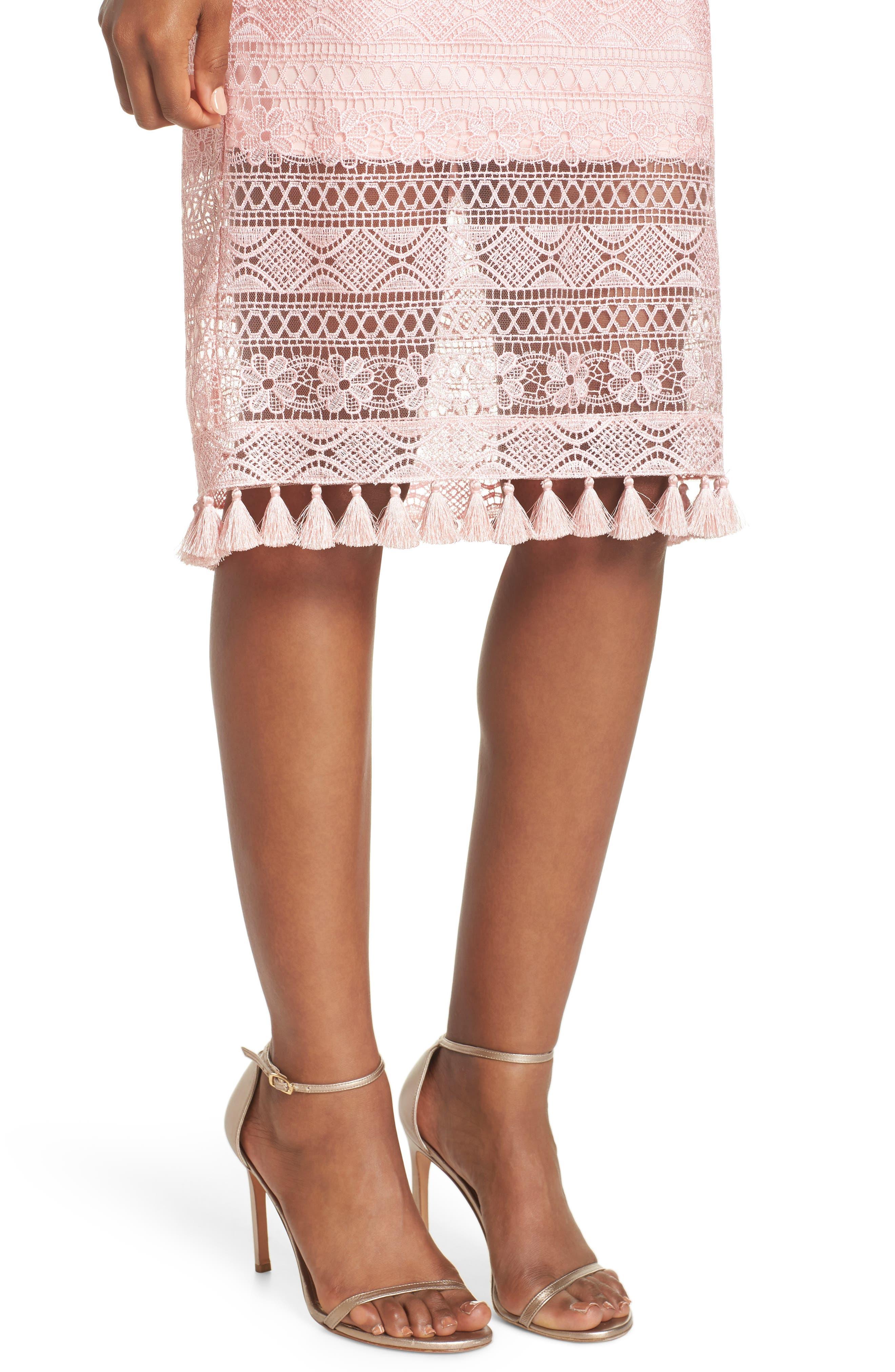 Embroidered Lace Sheath Dress,                             Alternate thumbnail 4, color,                             Rose Quartz
