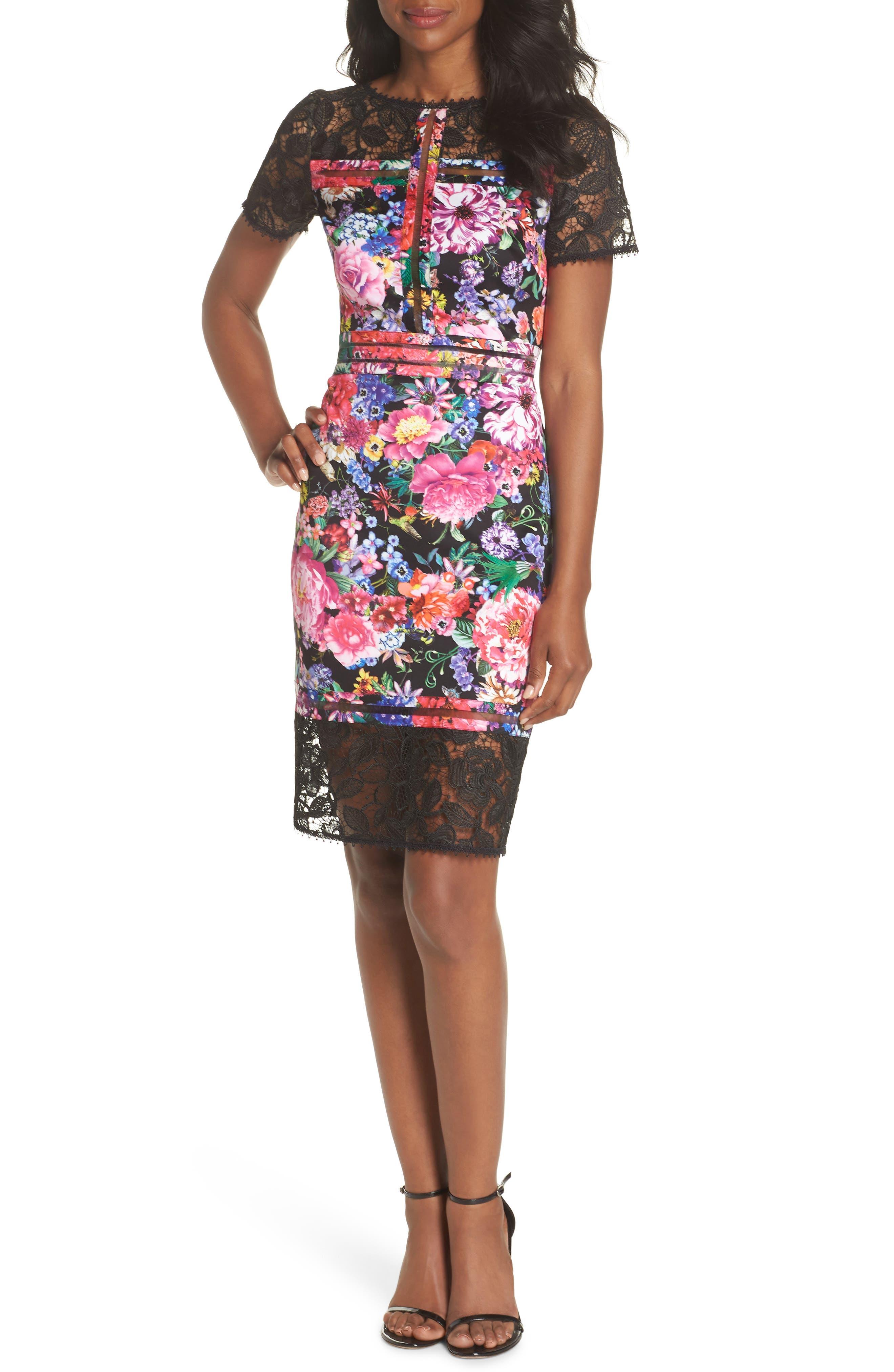 Floral & Lace Sheath Dress,                         Main,                         color, Black/ Floral