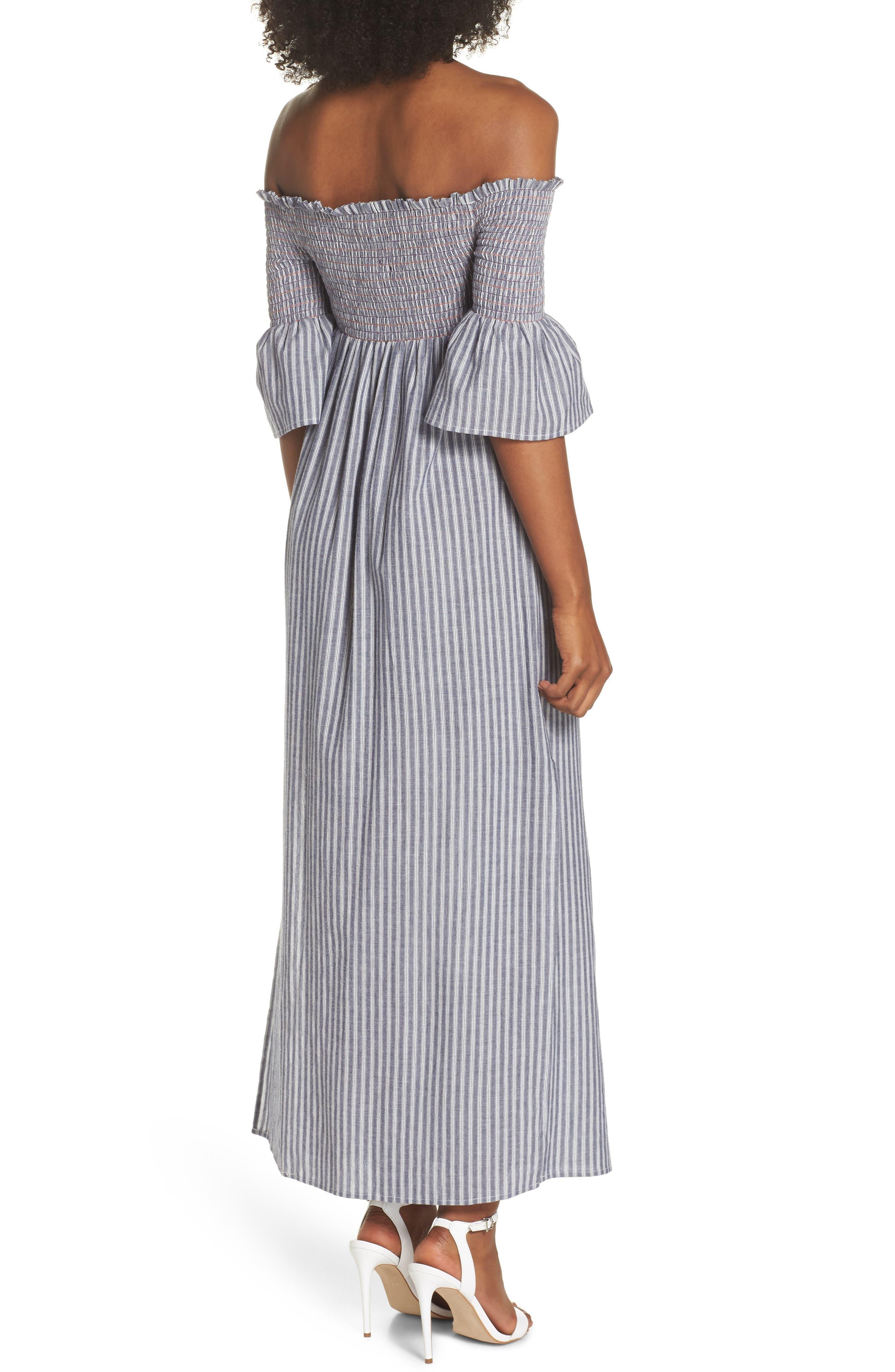 Carmel Smocked Off the Shoulder Maxi Dress,                             Alternate thumbnail 2, color,                             Chambray