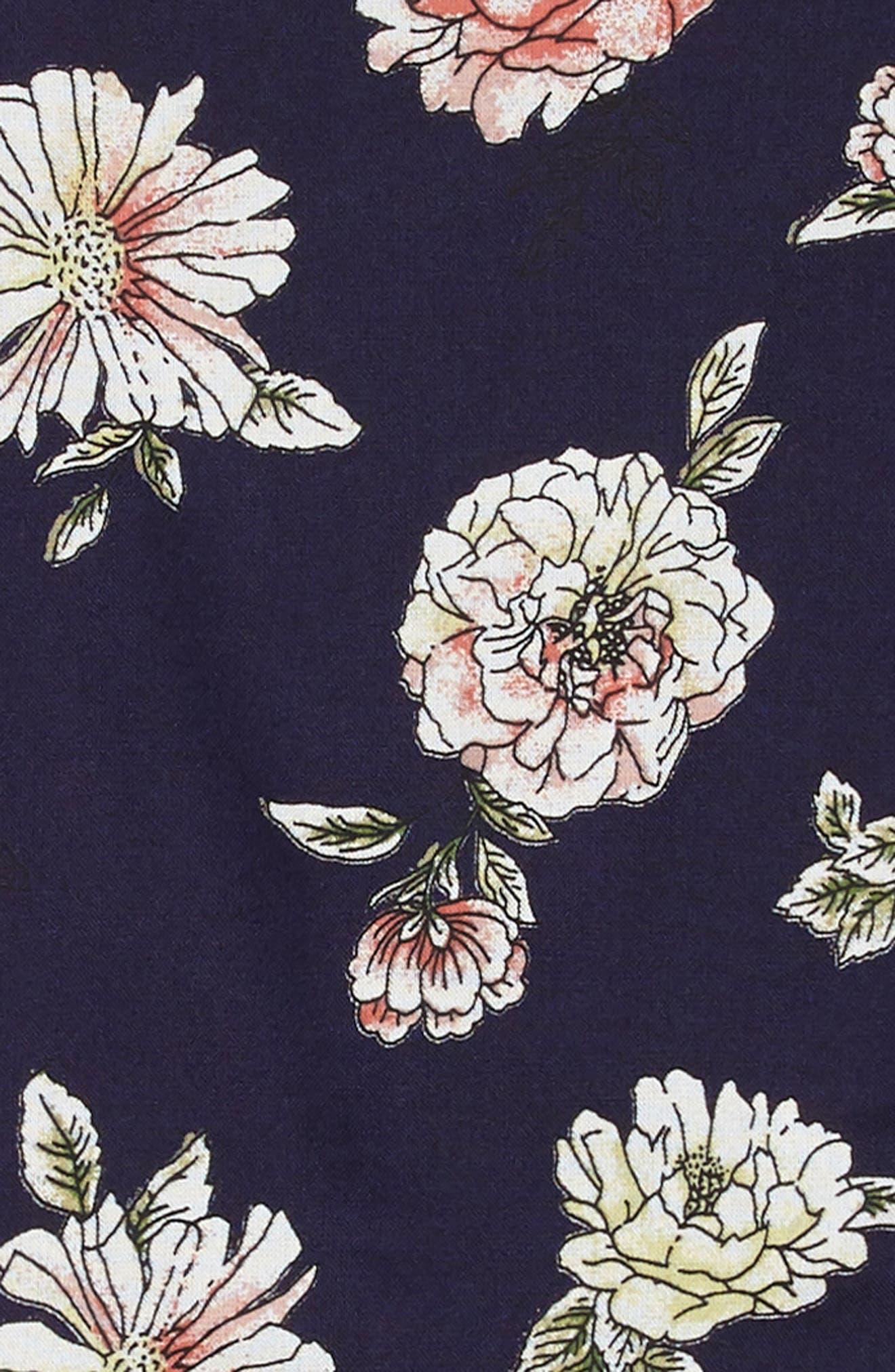 Floral Walk Through Romper,                             Alternate thumbnail 3, color,                             Navy/ Coral