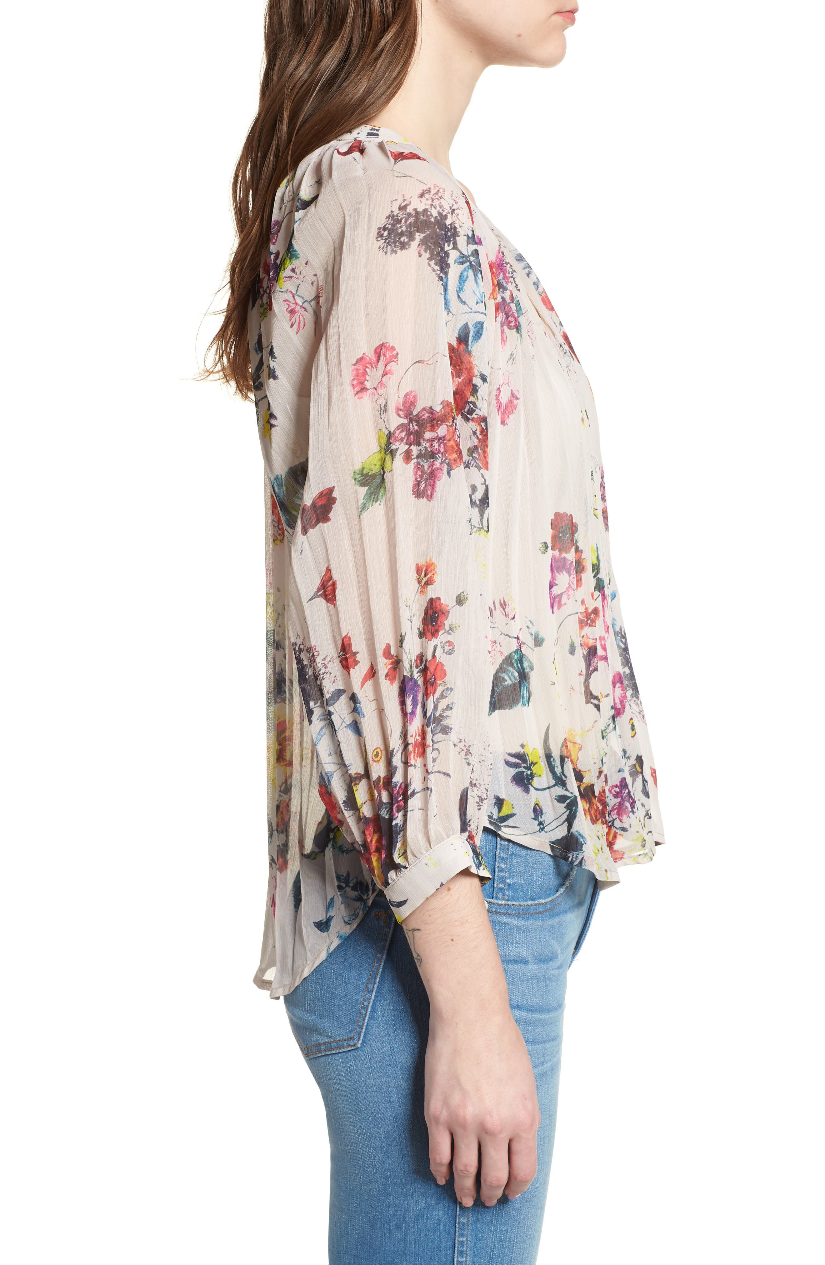 Bishop + Young Floral Pleated Top,                             Alternate thumbnail 3, color,                             Romance Print