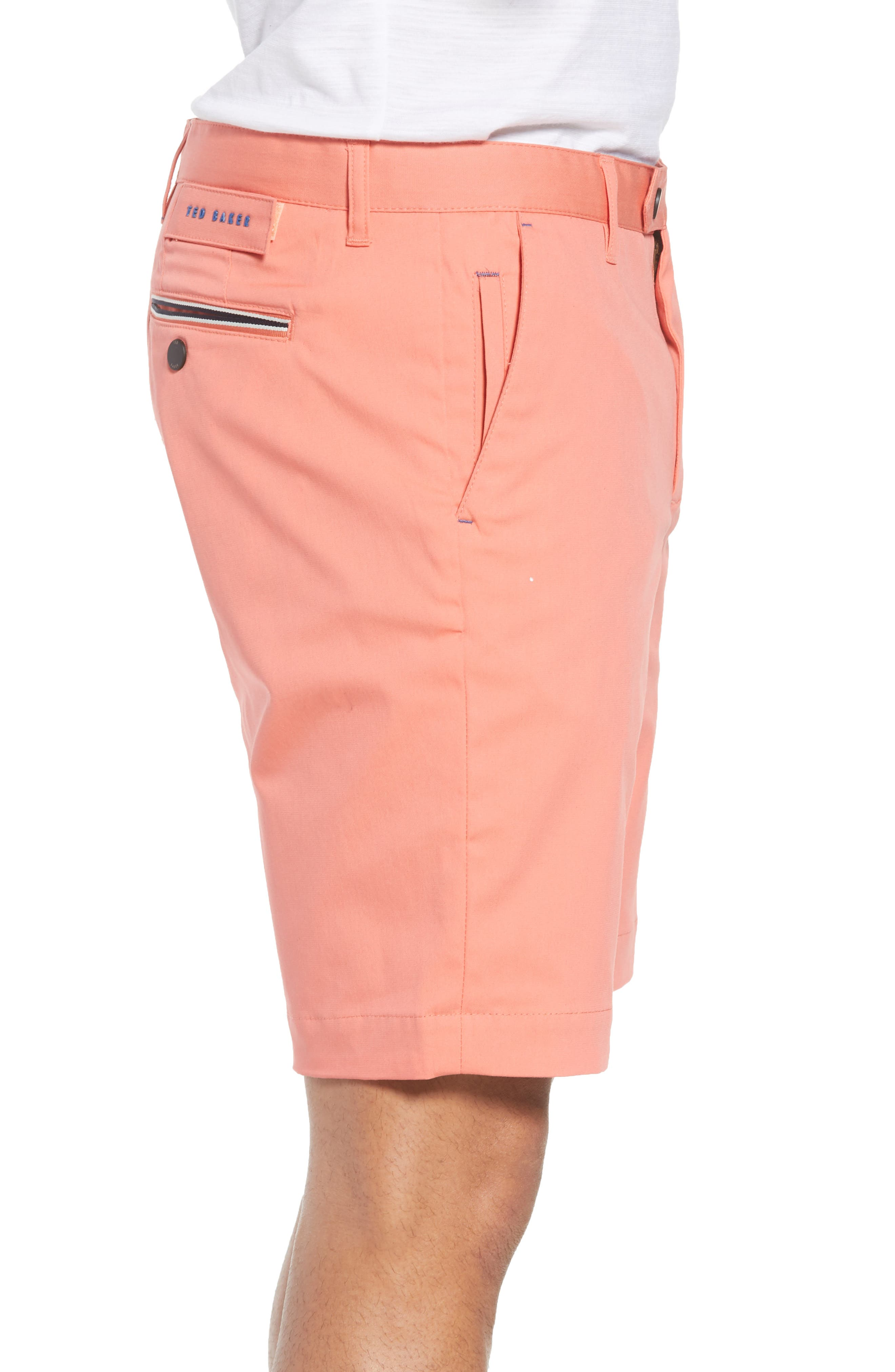 Twopar Flat Front Shorts,                             Alternate thumbnail 3, color,                             Coral