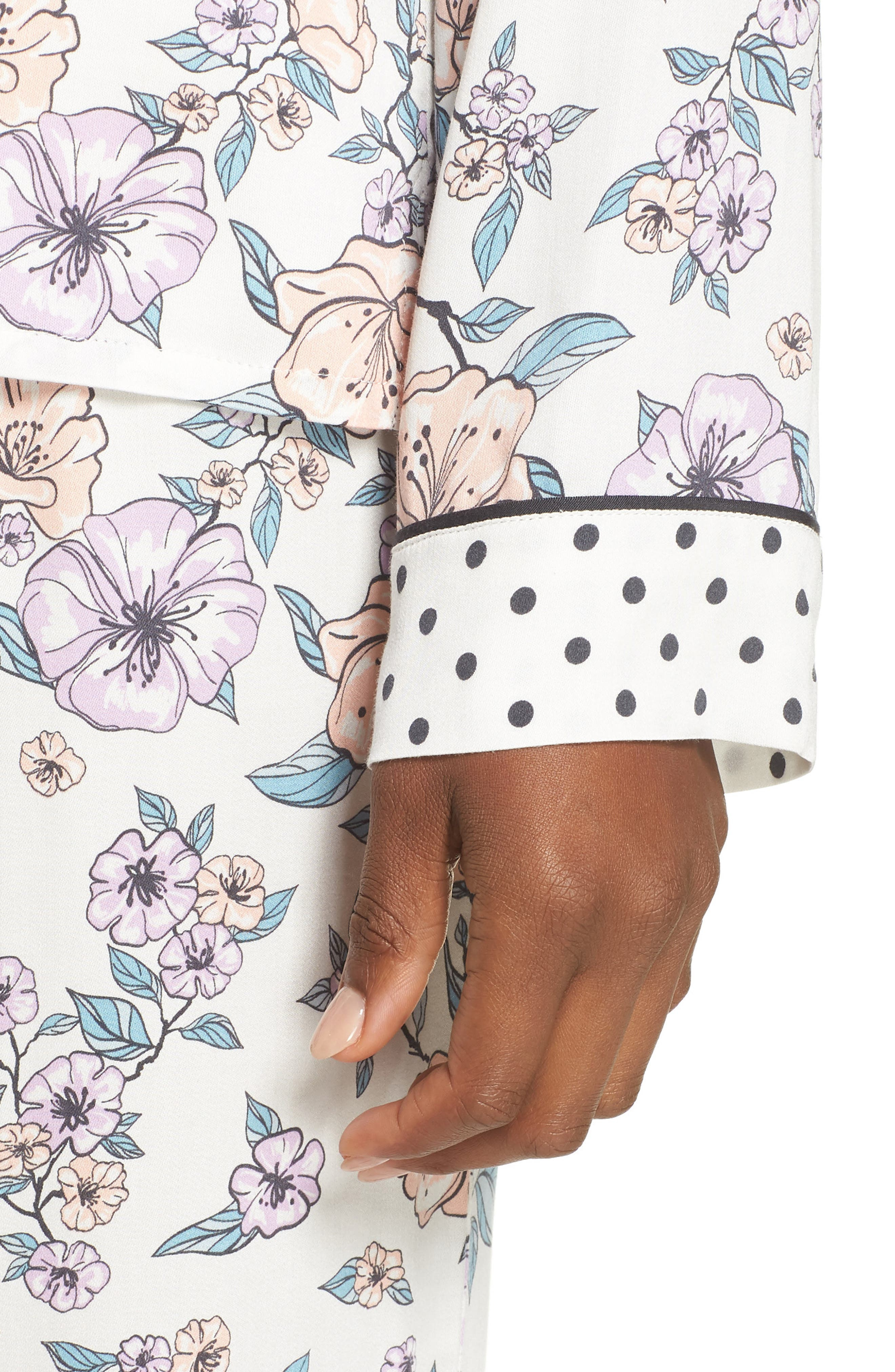 Floral Print Pajamas,                             Alternate thumbnail 4, color,                             Natural