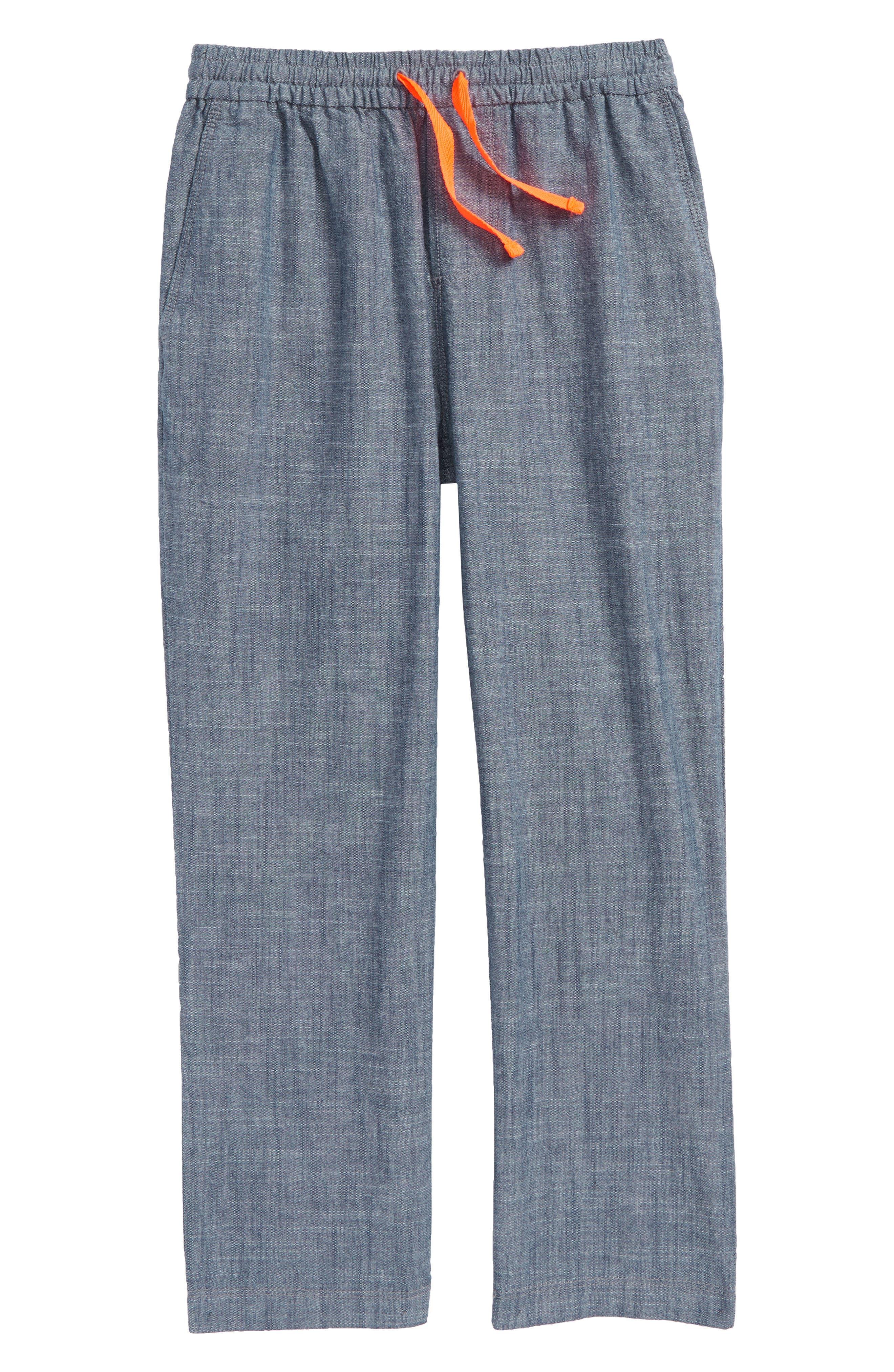 Summer Pull-On Pants,                         Main,                         color, Mid Indigo Chambray