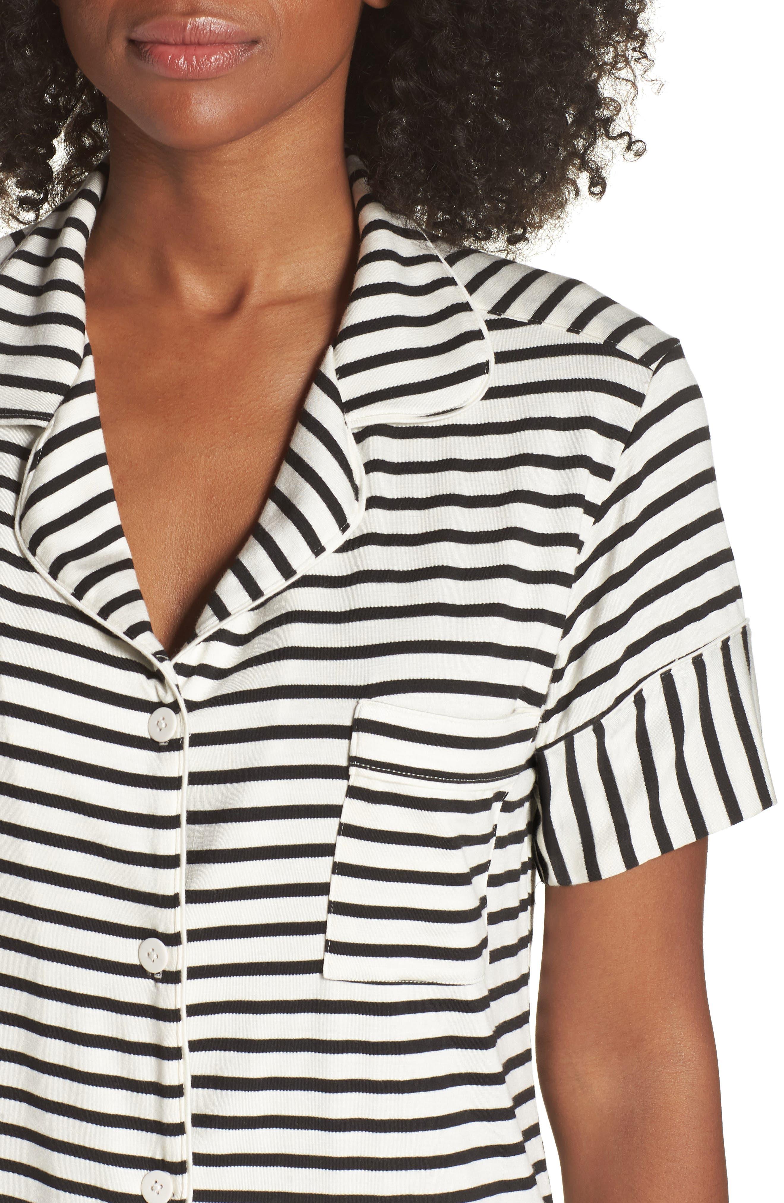 Monaco Short Pajamas,                             Alternate thumbnail 4, color,                             Pearl Stripe