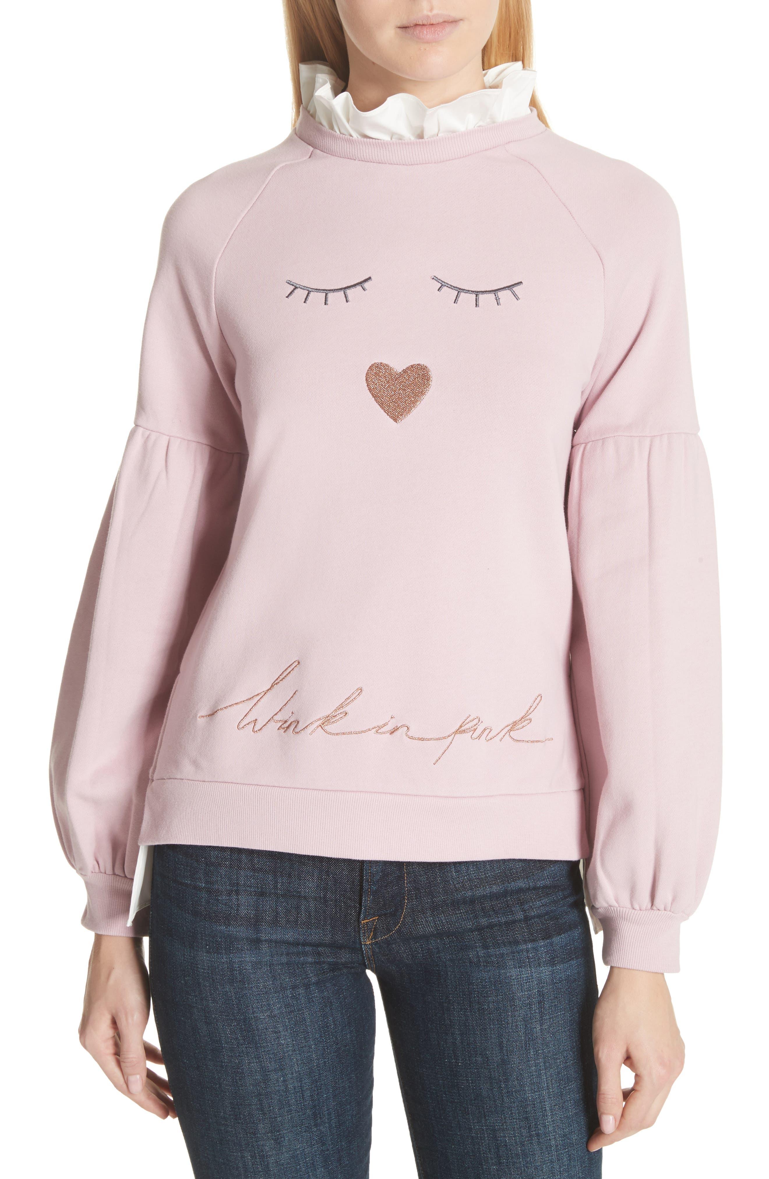Evlin Face Logo Sweatshirt,                         Main,                         color, Dusky Pink