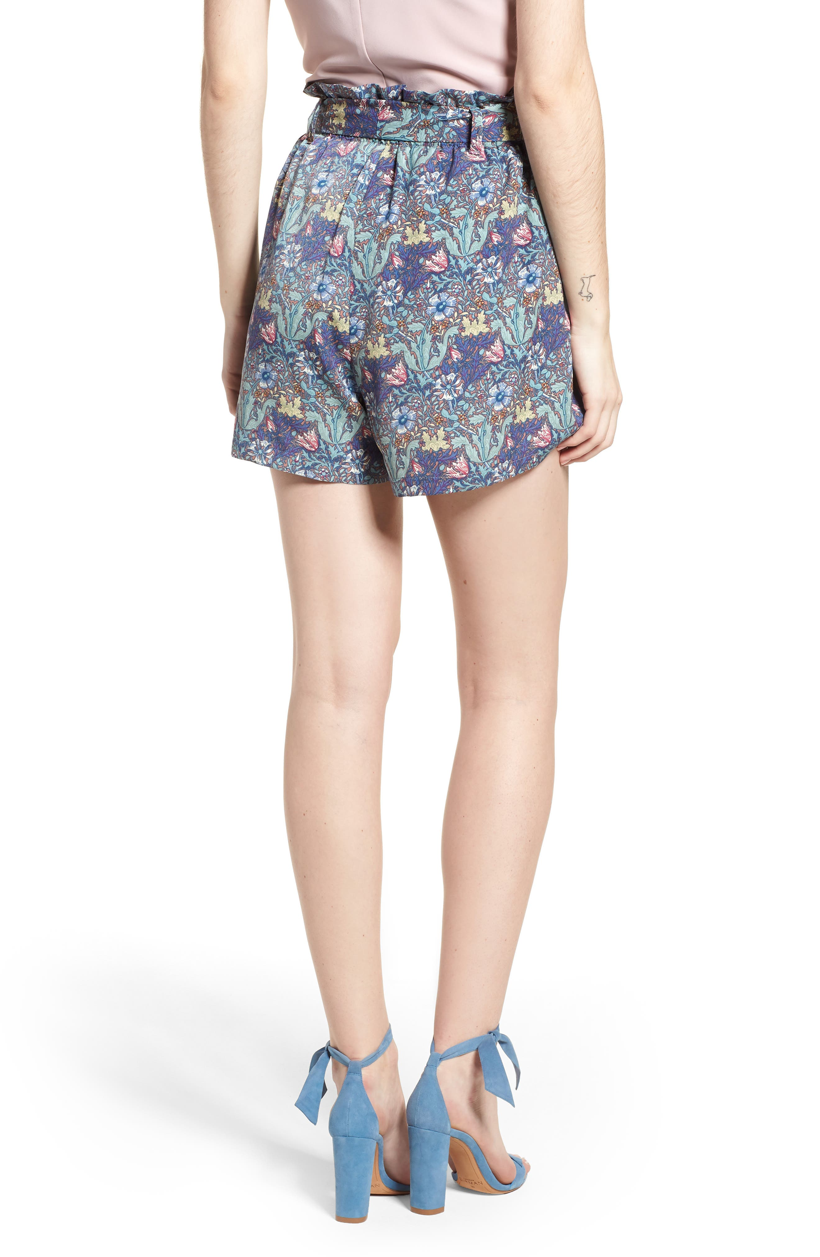 Bishop + Young Floral Paperbag Shorts,                             Alternate thumbnail 2, color,                             Print