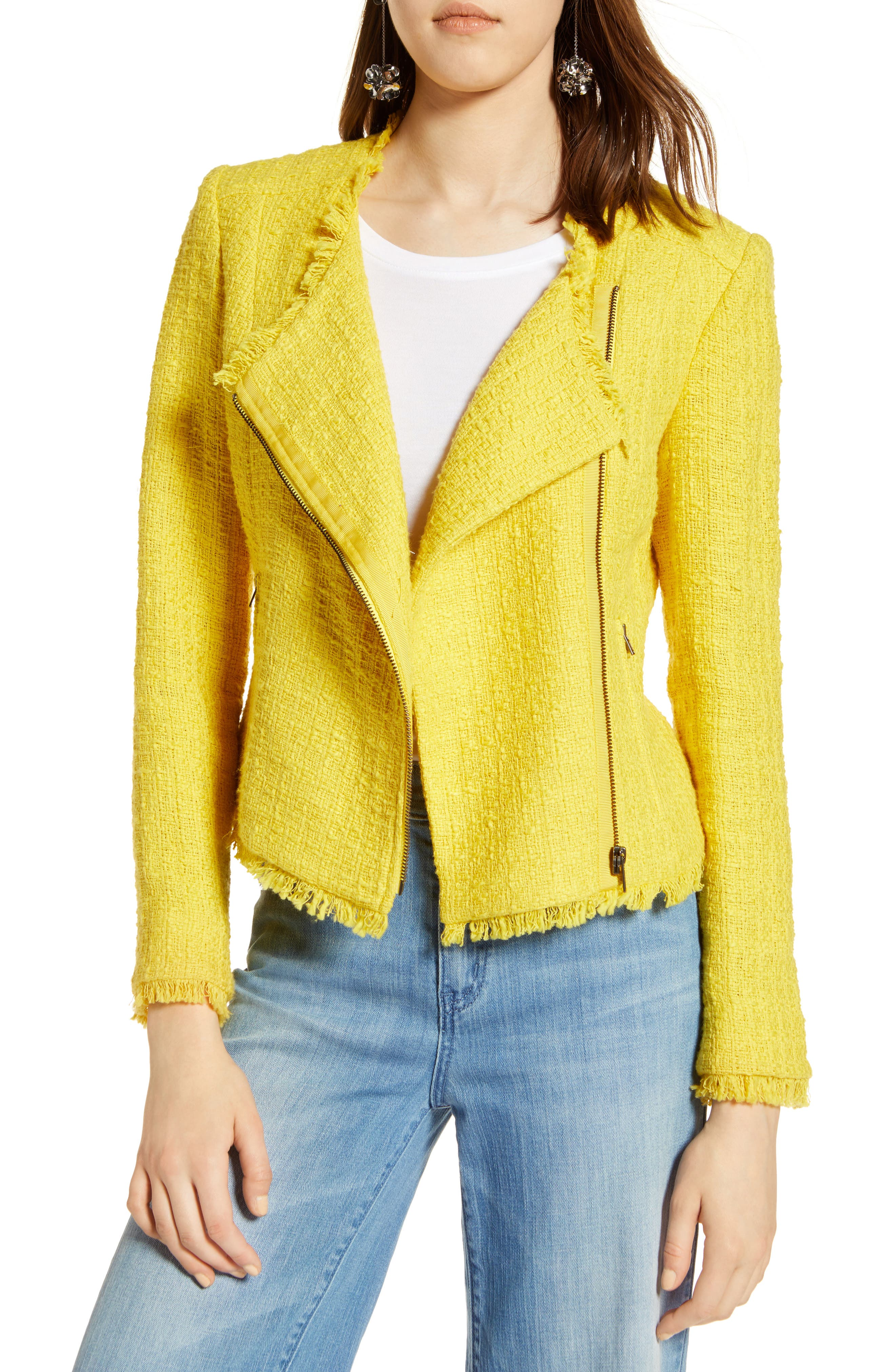 Tweed Moto Jacket,                         Main,                         color, Yellow Maize