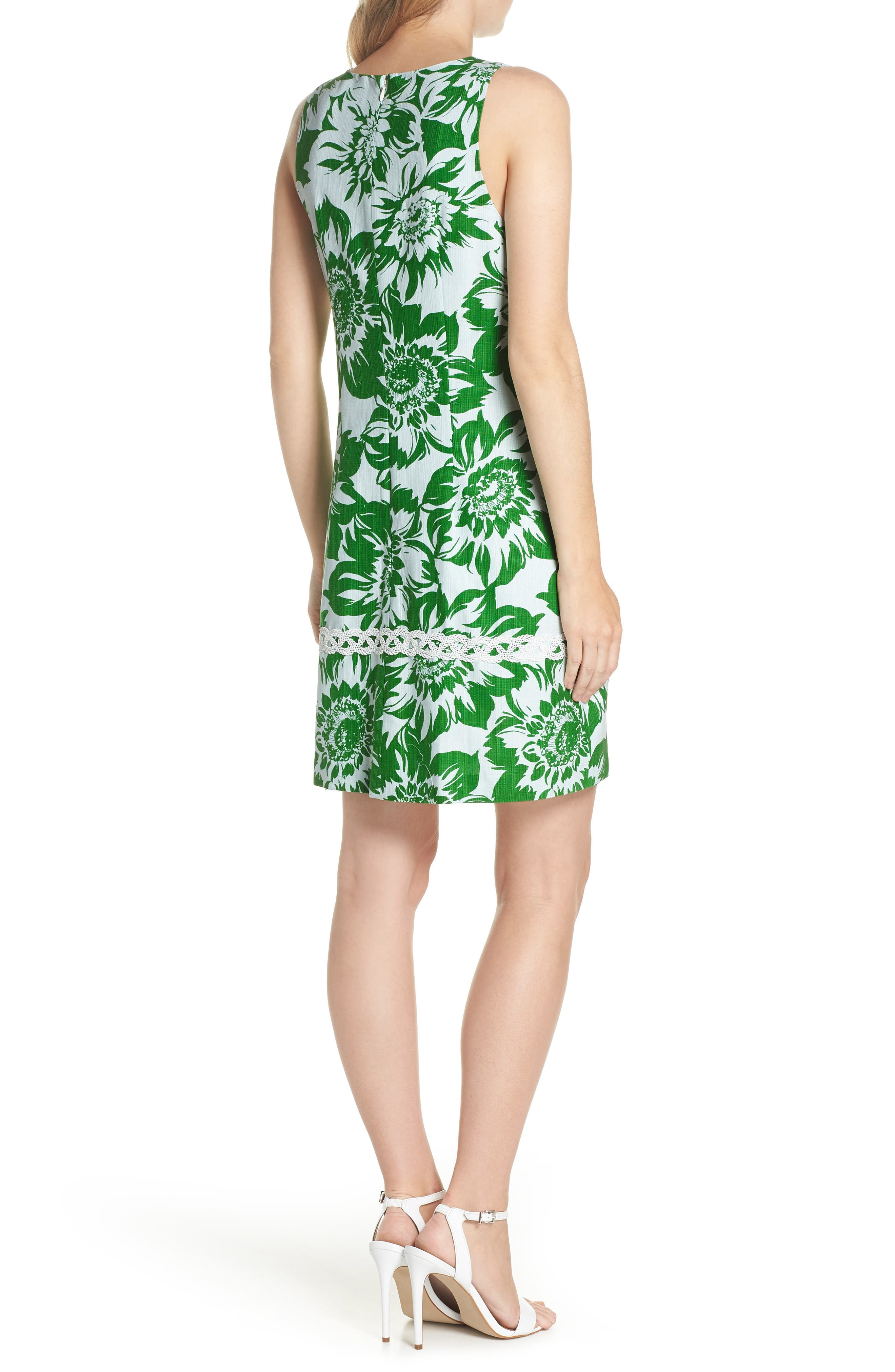 Sleeveless Stretch Cotton Shift Dress,                             Alternate thumbnail 2, color,                             Green