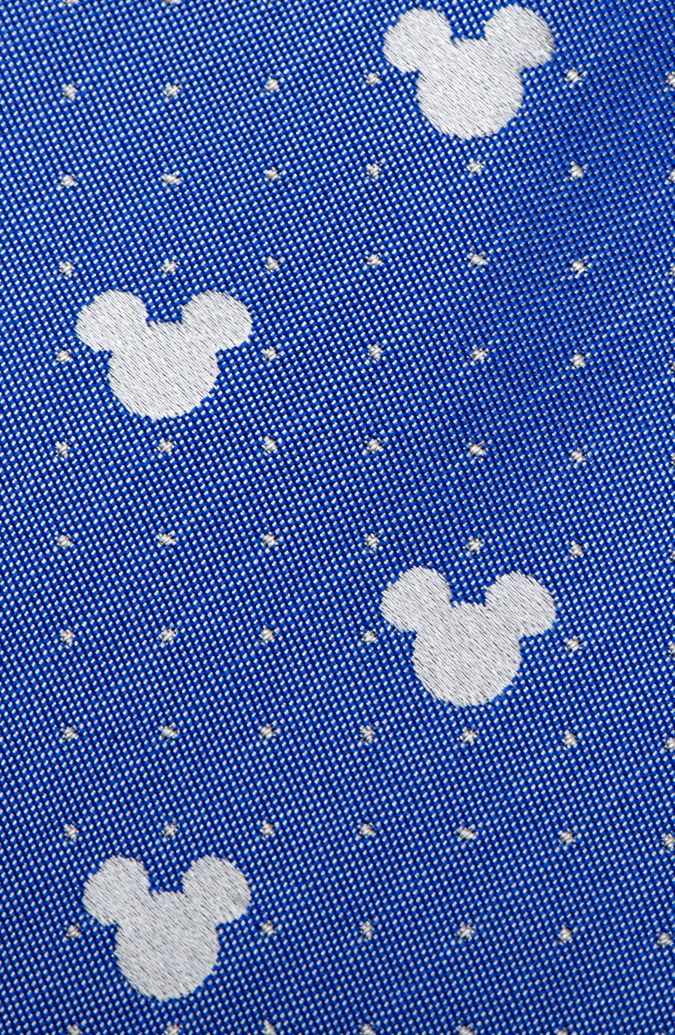 Mickey Mouse Pin Dot Silk Tie,                             Alternate thumbnail 3, color,                             Blue/ Grey