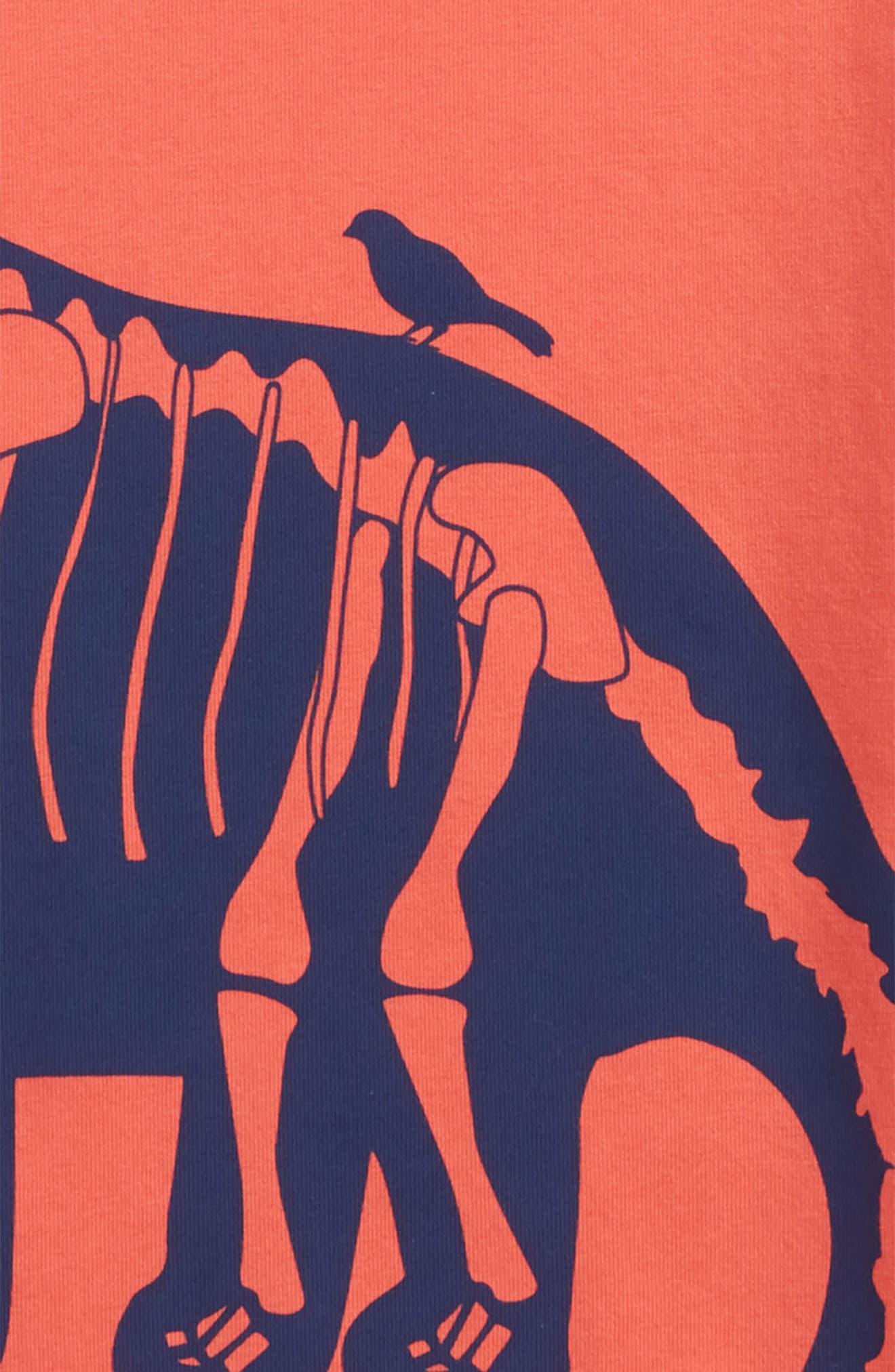 Wraparound Dinosaur Graphic T-Shirt,                             Alternate thumbnail 3, color,                             Jam Red Diploduocus