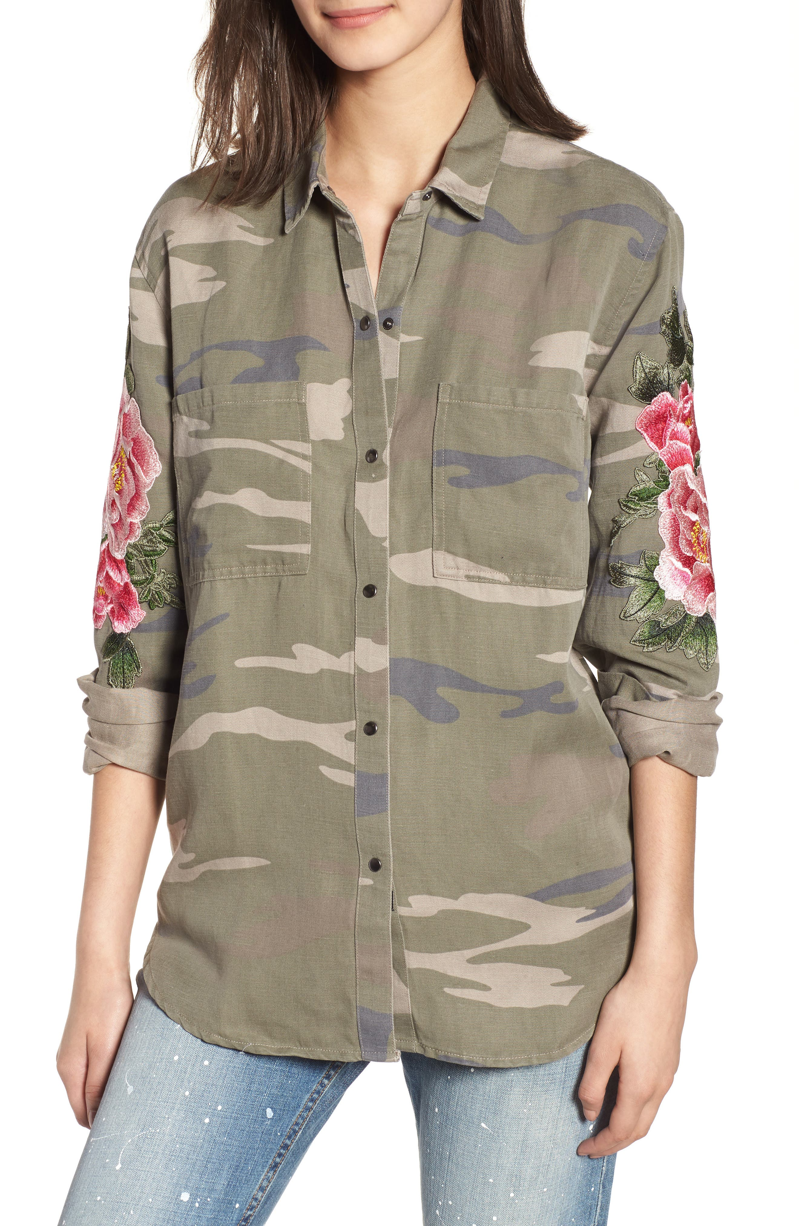 Marcel Embroidered Shirt,                         Main,                         color, Sage Camo With Floral