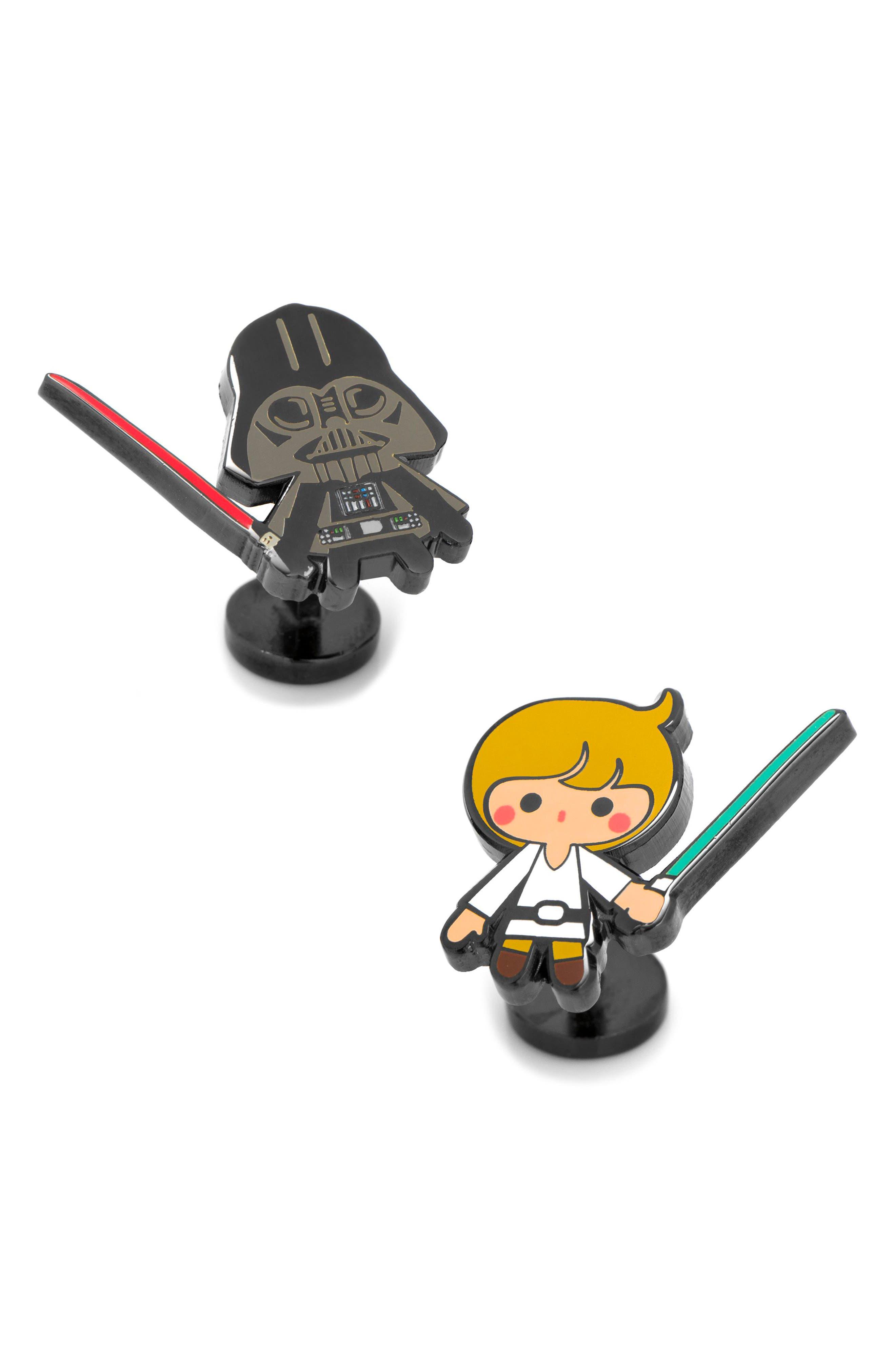Luke & Darth Vader Cuff Links,                         Main,                         color, Black/ White
