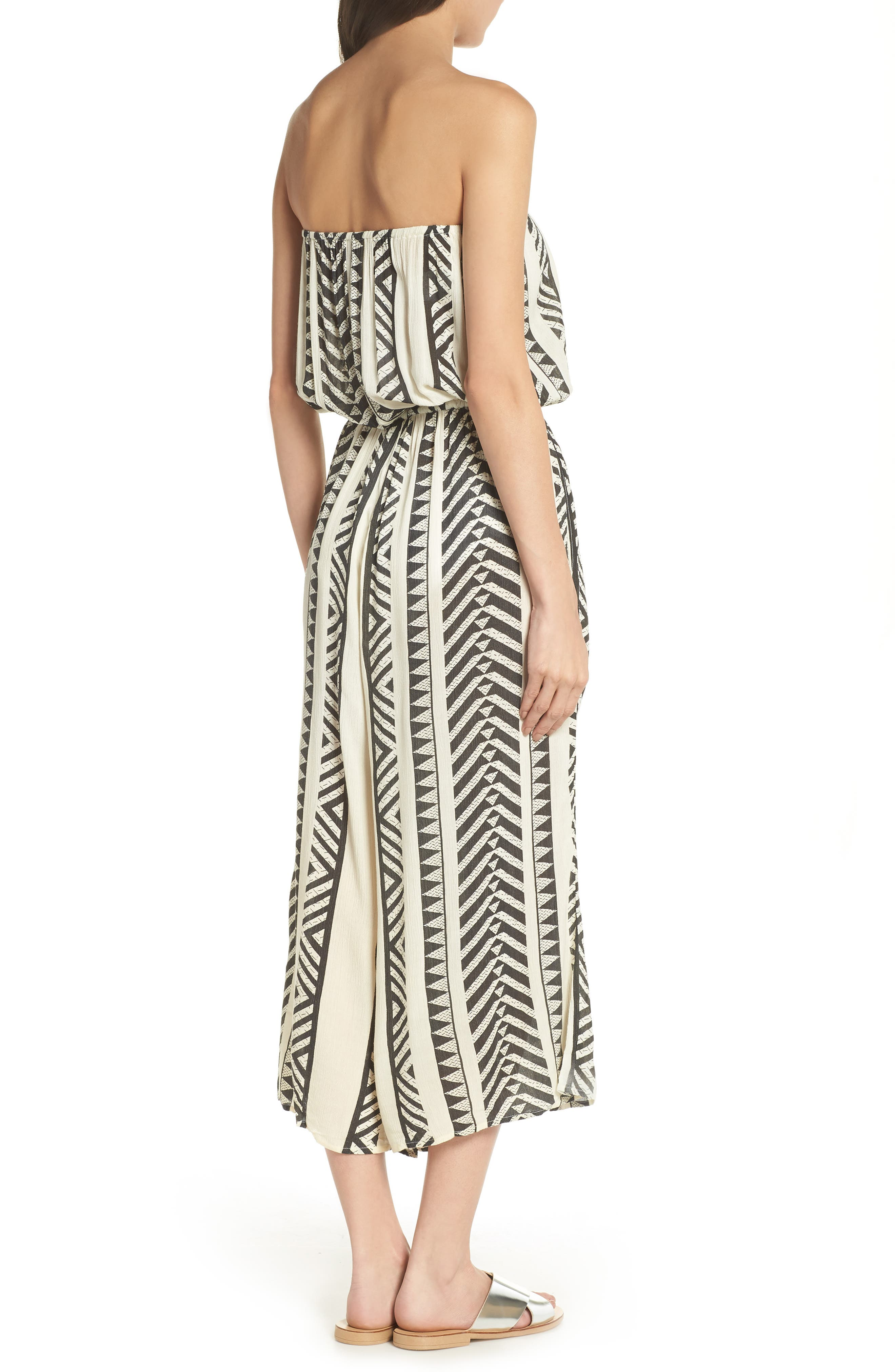 Strapless Cover-Up Jumpsuit,                             Alternate thumbnail 2, color,                             Black Tribal