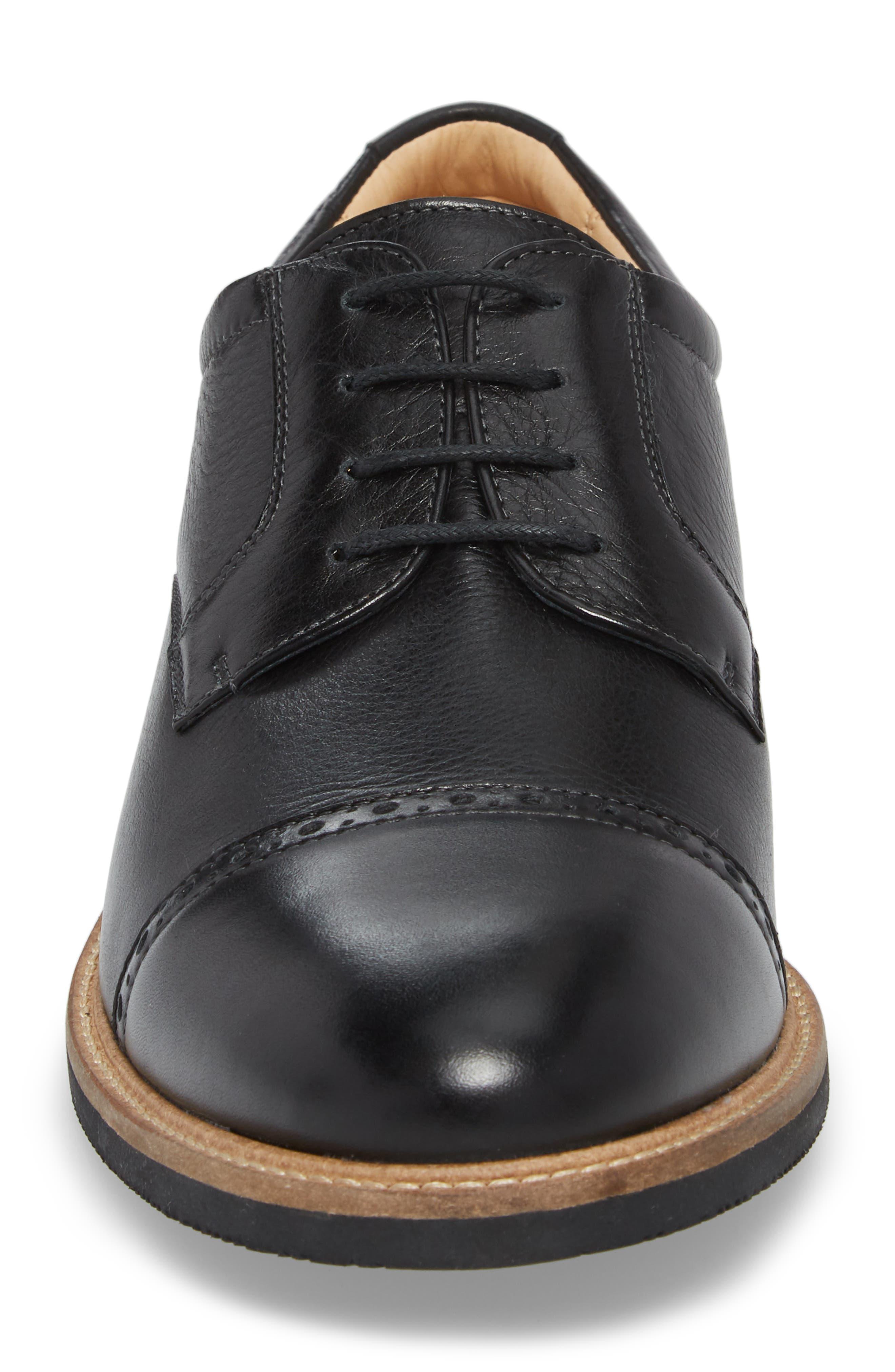Barlow Cap Toe Derby,                             Alternate thumbnail 4, color,                             Black Leather