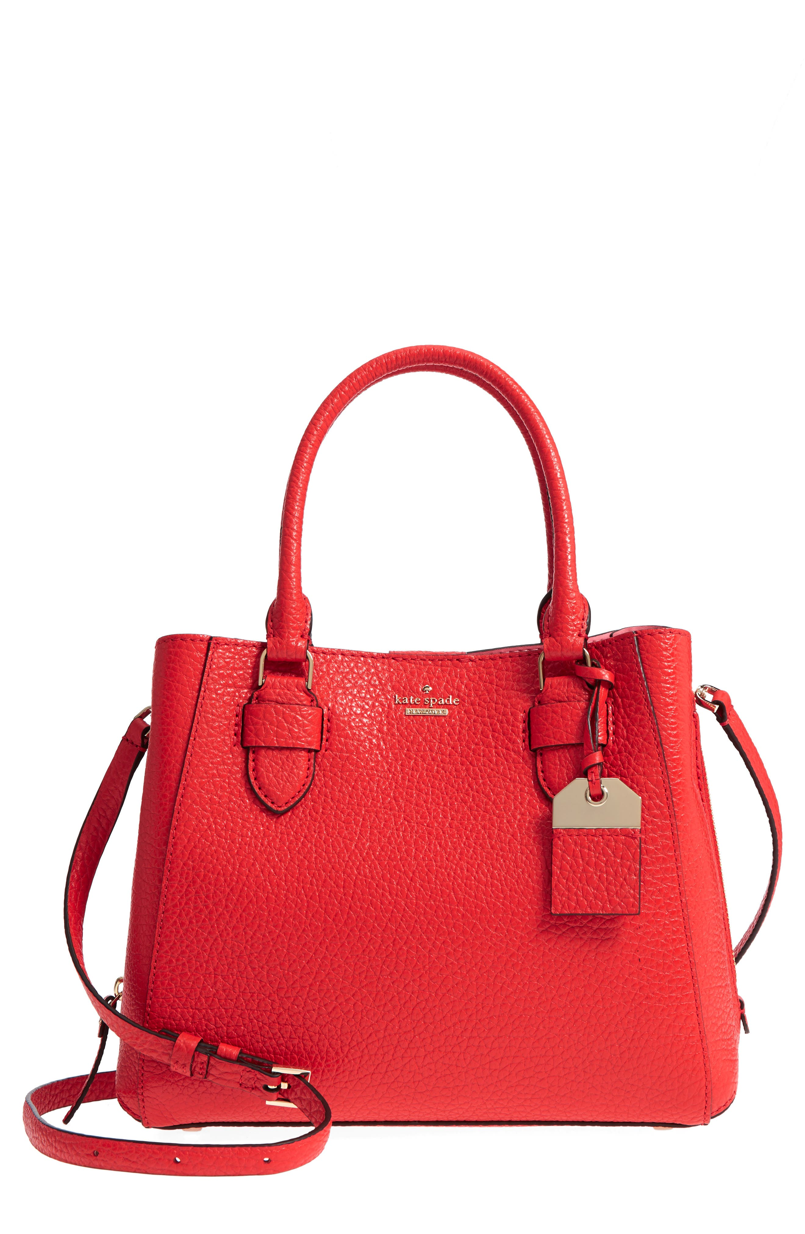 carter street - aliana leather satchel,                         Main,                         color, Picnic Red