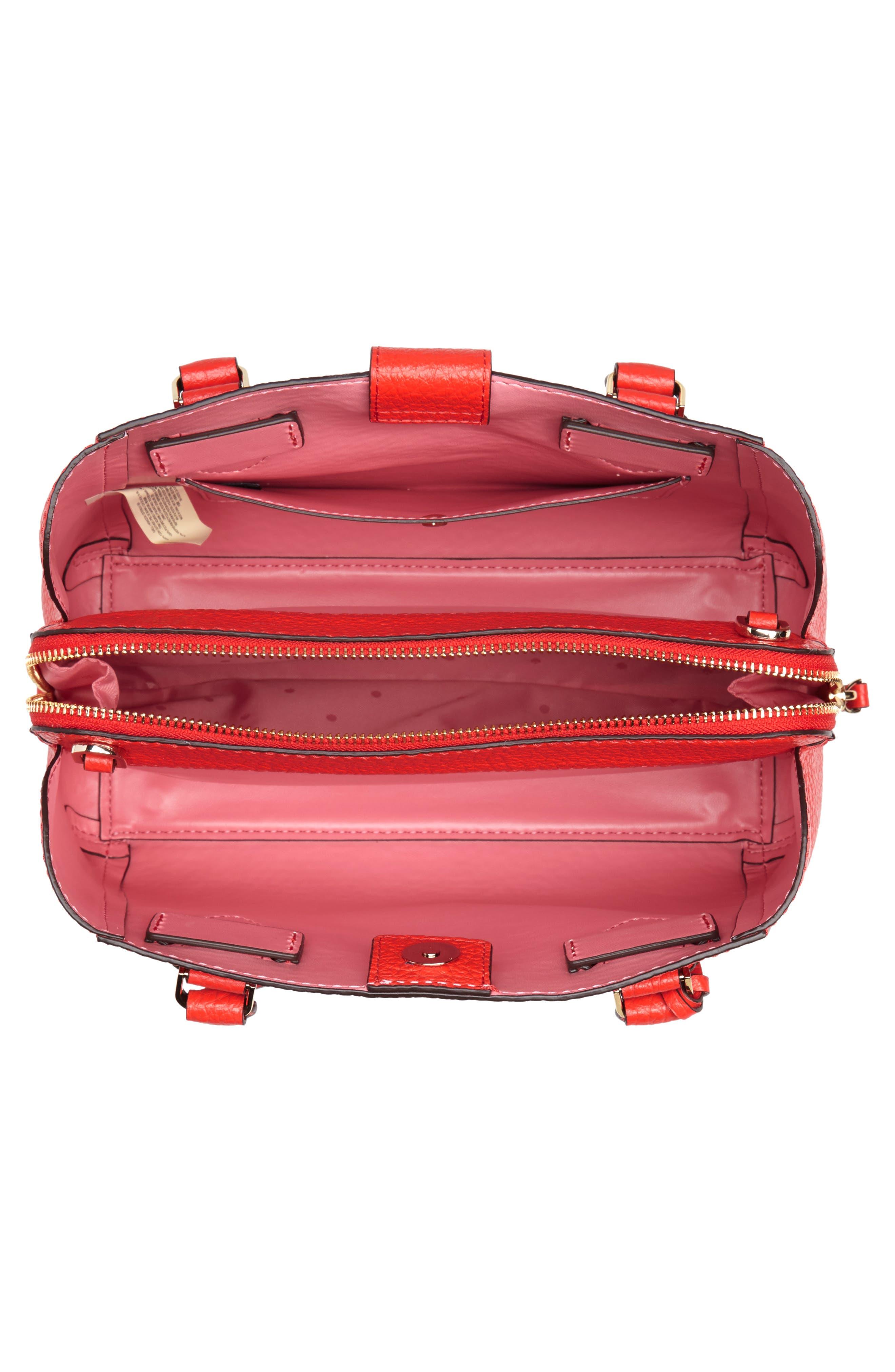 carter street - aliana leather satchel,                             Alternate thumbnail 4, color,                             Picnic Red