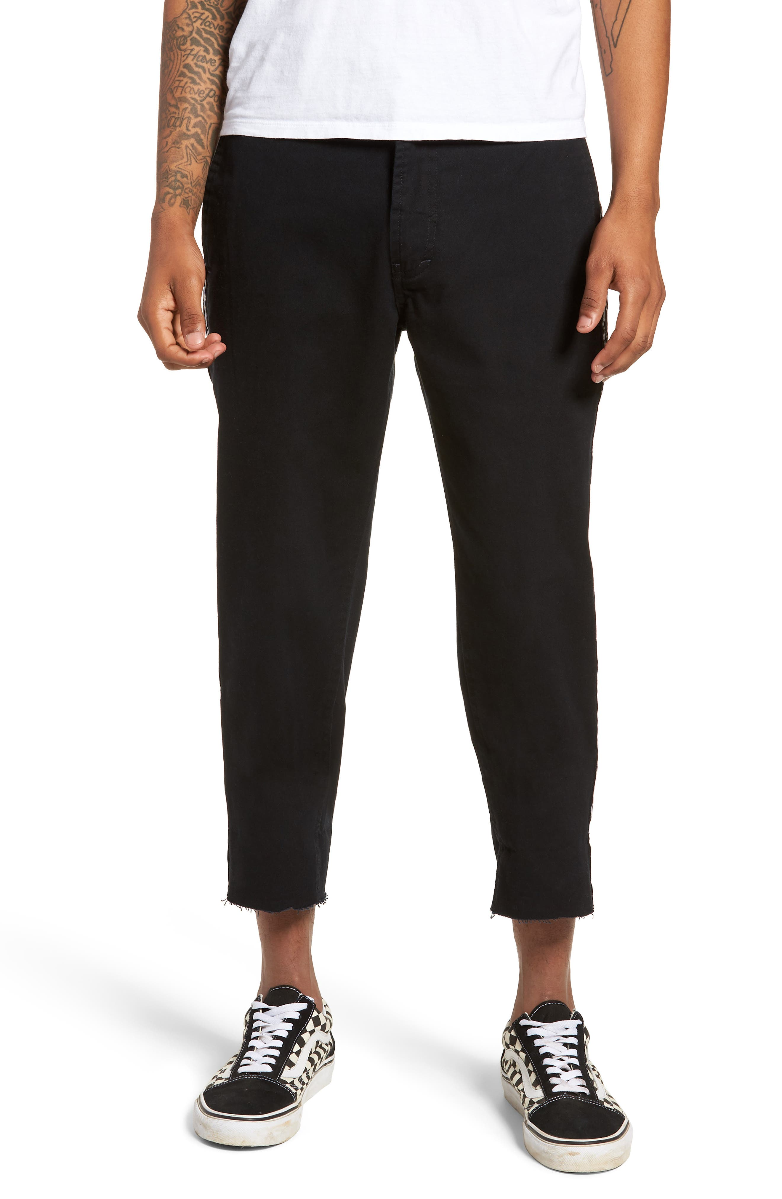 B. Relaxed Chinos,                         Main,                         color, Taped Black Crop