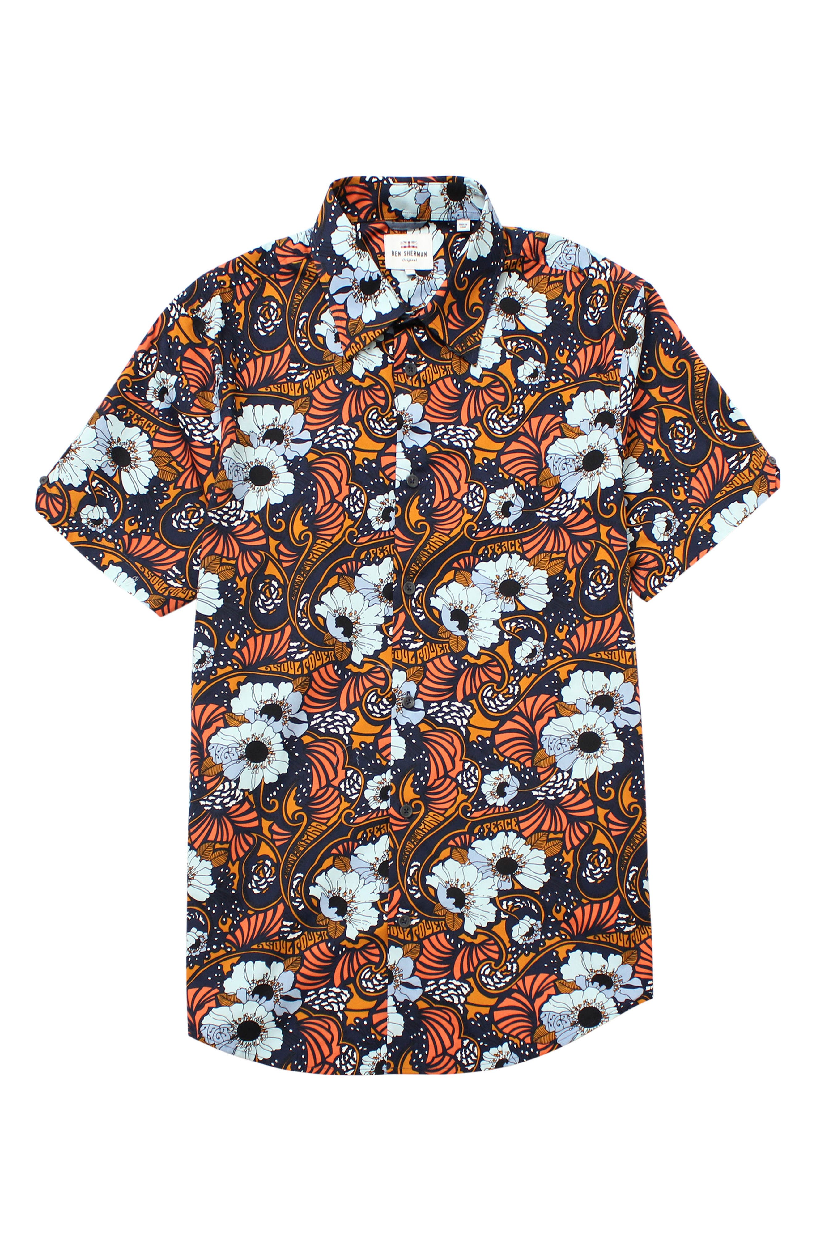 Psychedelic Floral Modern Fit Short Sleeve Sport Shirt,                         Main,                         color, Dark Navy