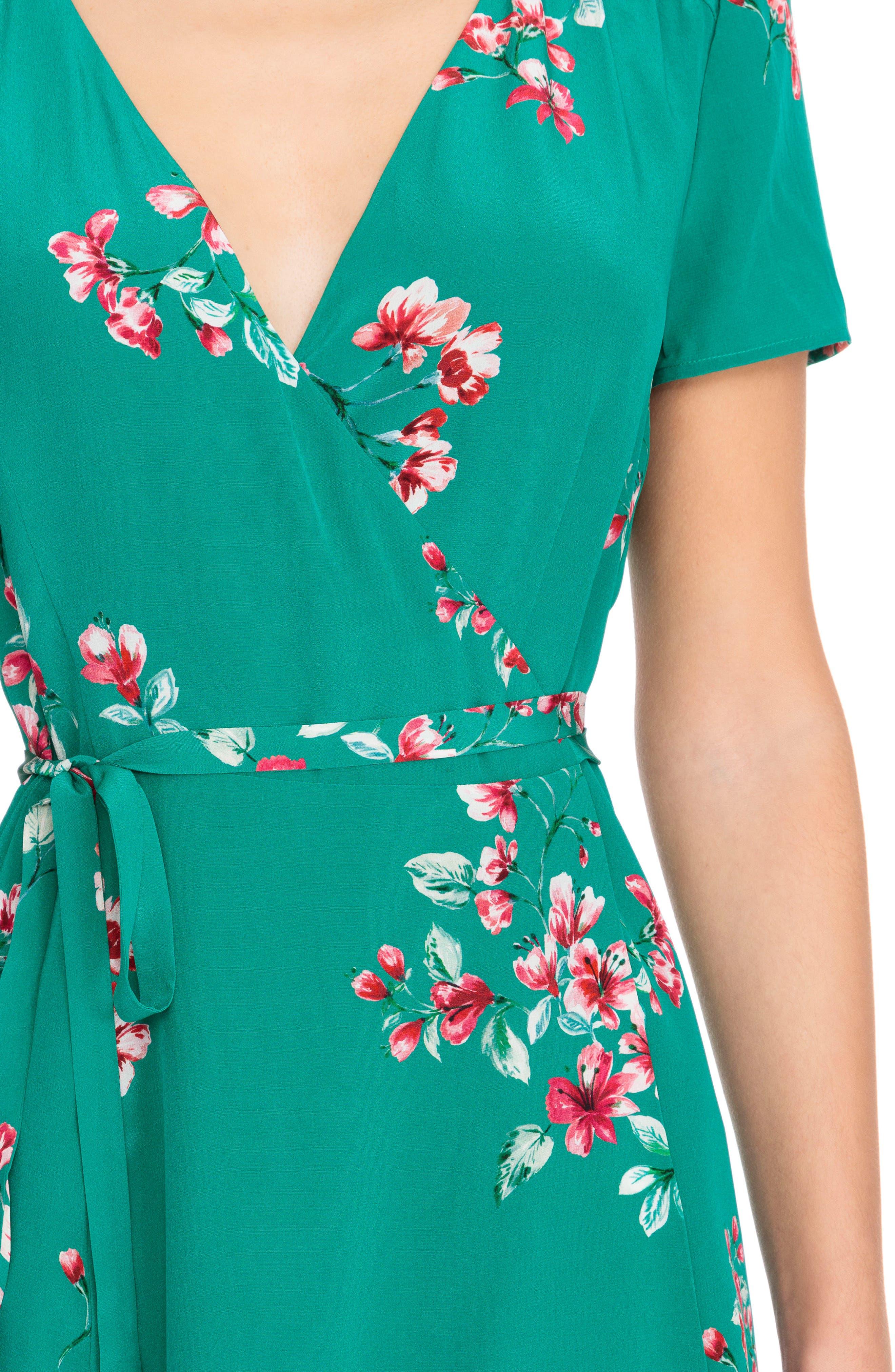 Anastasia Silk Wrap Dress,                             Alternate thumbnail 6, color,                             Bouquet Print On Green