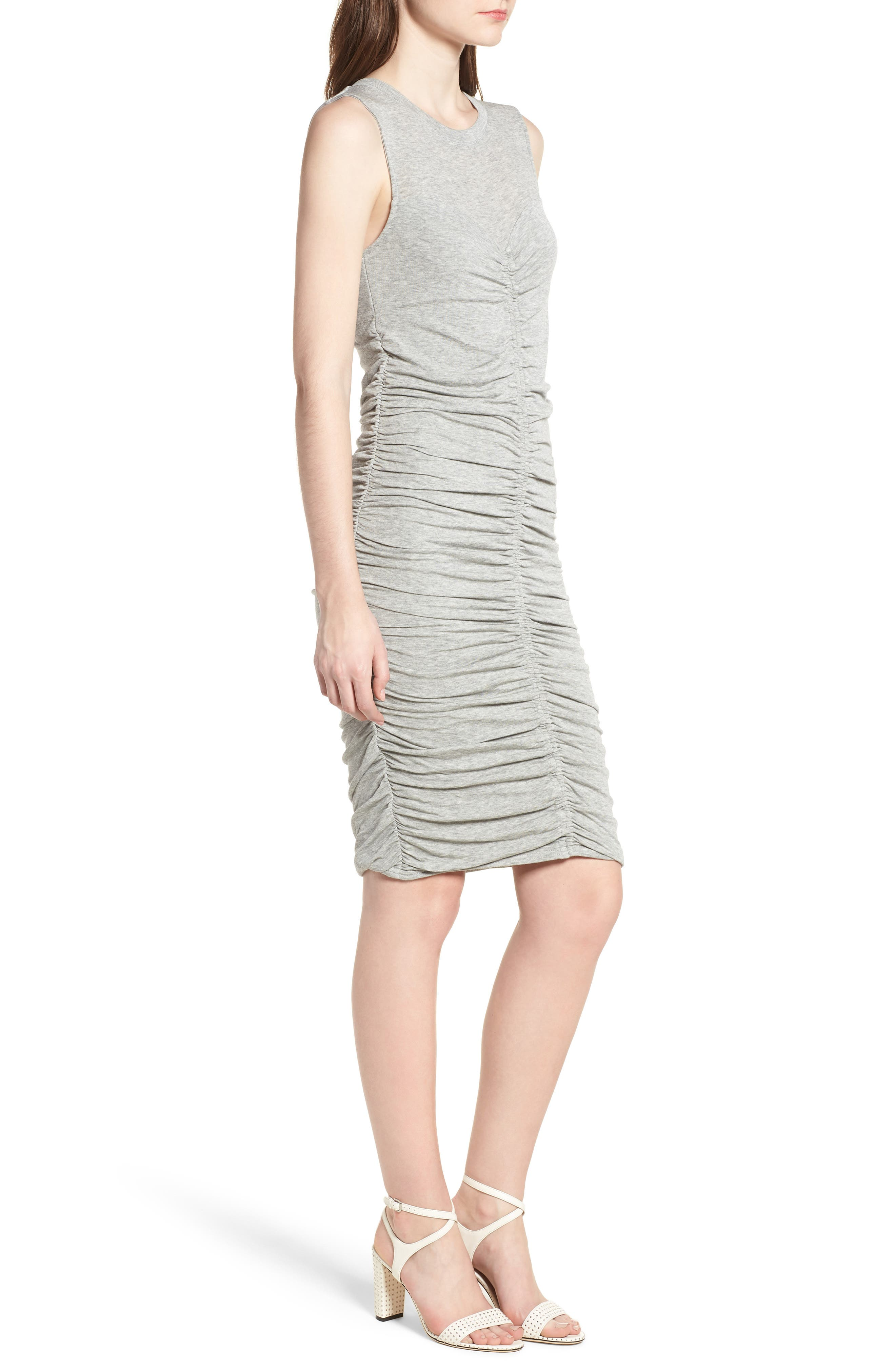 Shirred Dress,                             Alternate thumbnail 3, color,                             Grey Heather