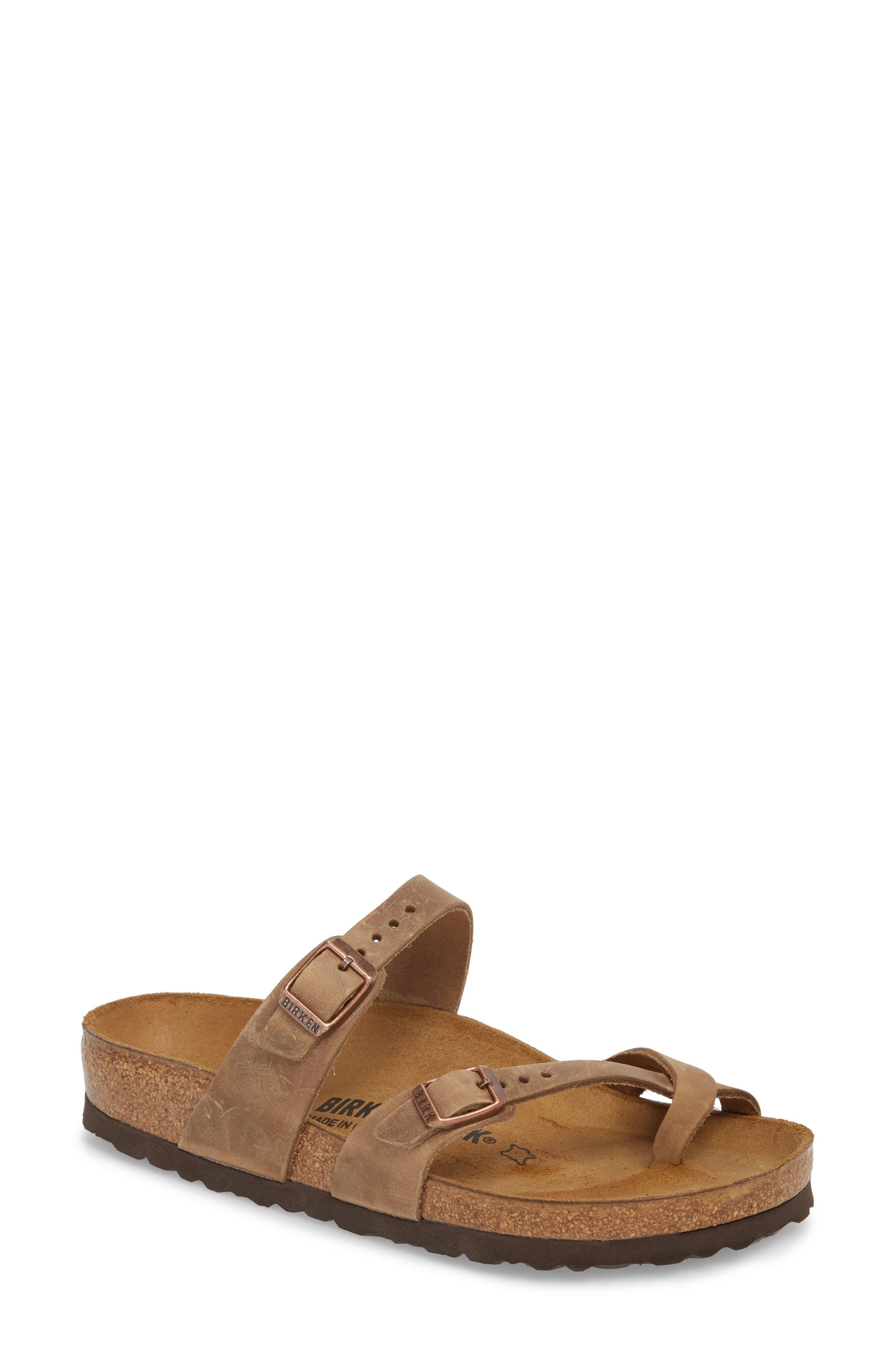 Mayari Slide Sandal,                             Main thumbnail 1, color,                             Tobacco Oiled Leather
