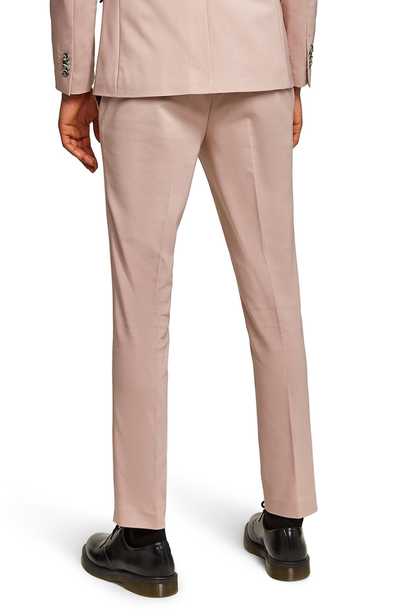 Skinny Fit Suit Trousers,                             Alternate thumbnail 3, color,                             Pink