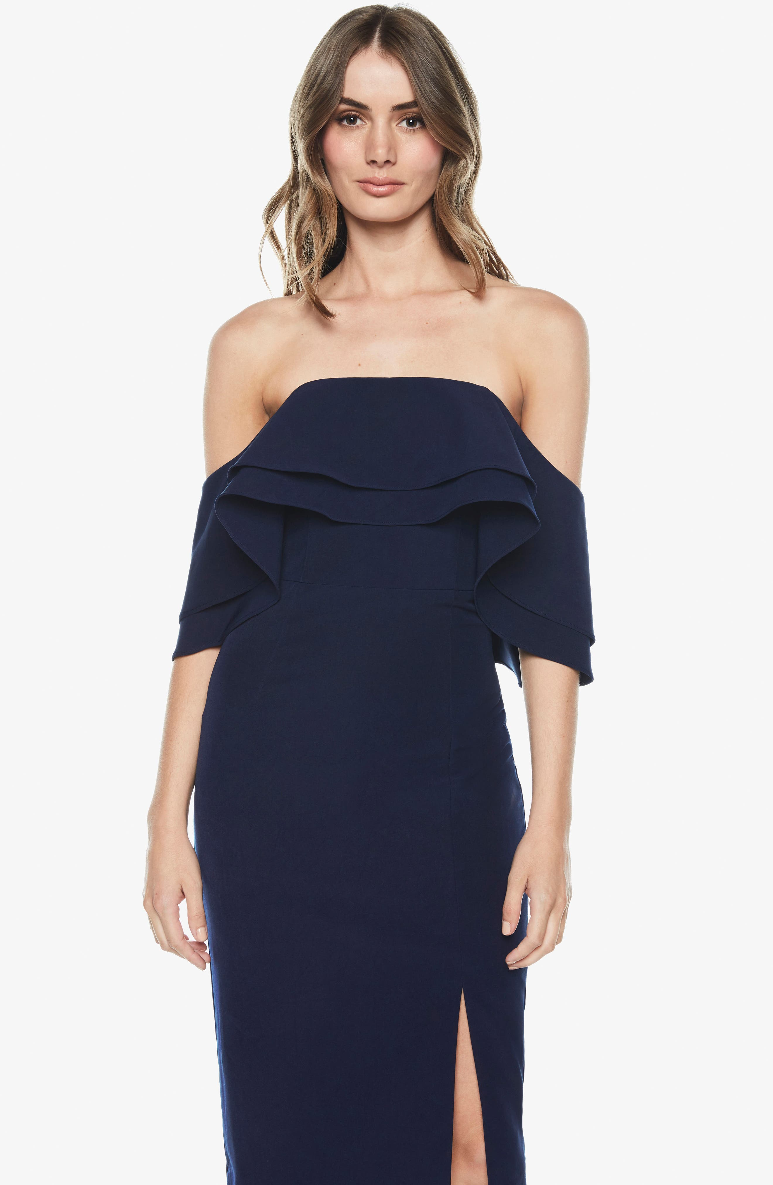 Band Ruffle Off the Shoulder Dress,                             Alternate thumbnail 2, color,                             Navy